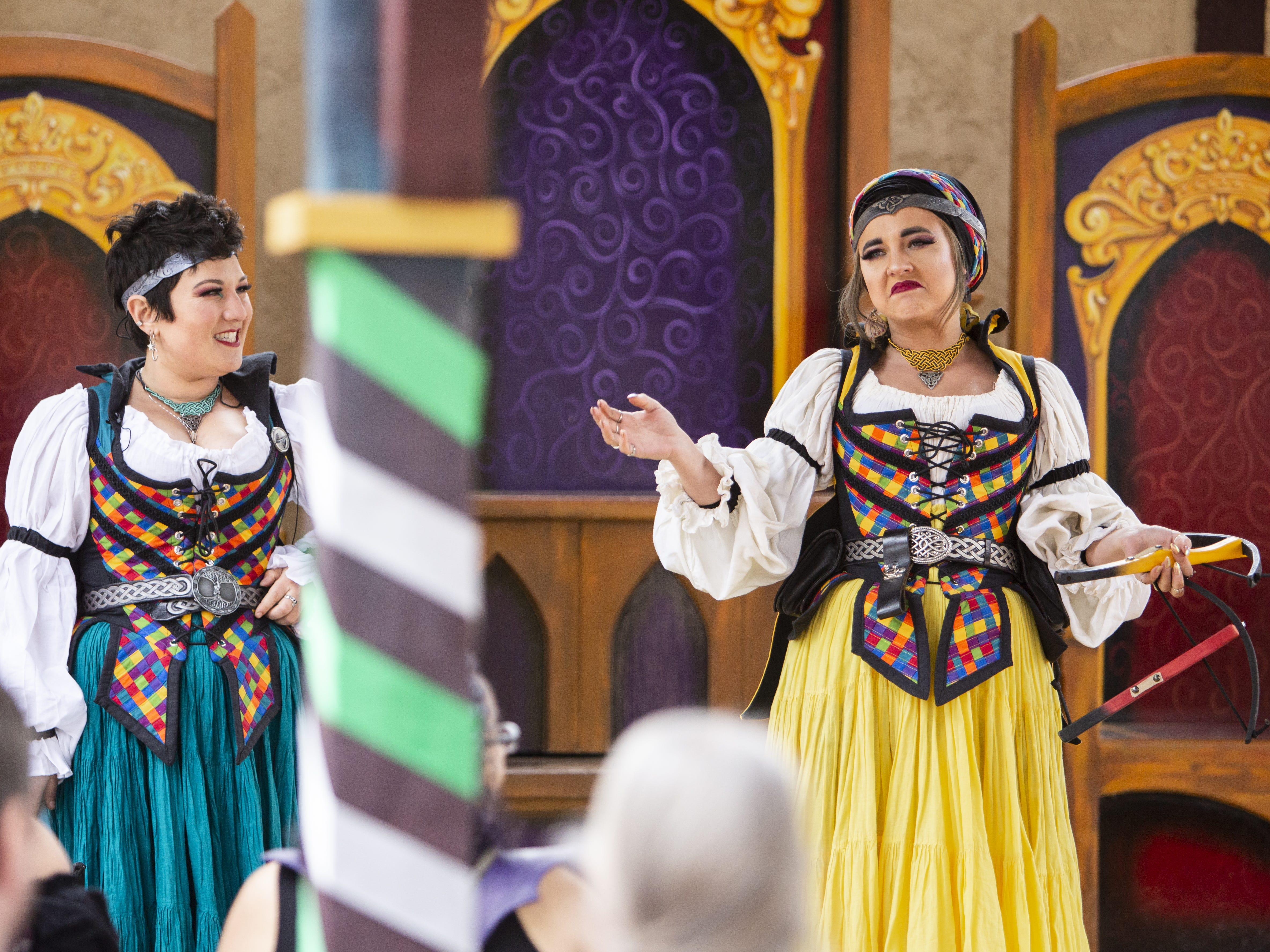 Women from the group Angels: Heroines in Disguise perform at the royal pavilion at the Arizona Renaissance Festival 2019 on Feb. 9, 2019 in Gold Canyon, Ariz.