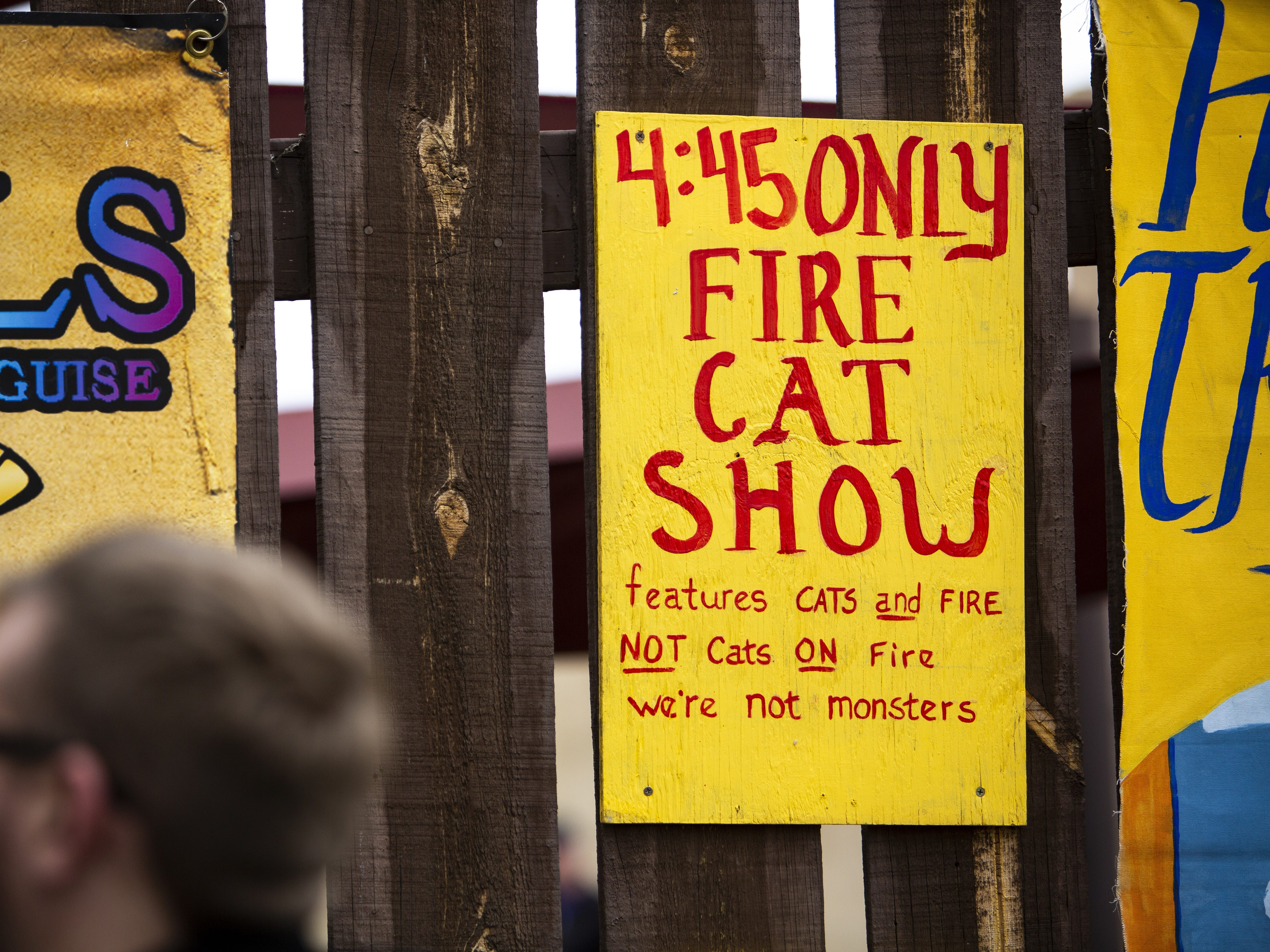 A sign announces a fire cat show at the Arizona Renaissance Festival 2019 on Feb. 9, 2019 in Gold Canyon, Ariz.