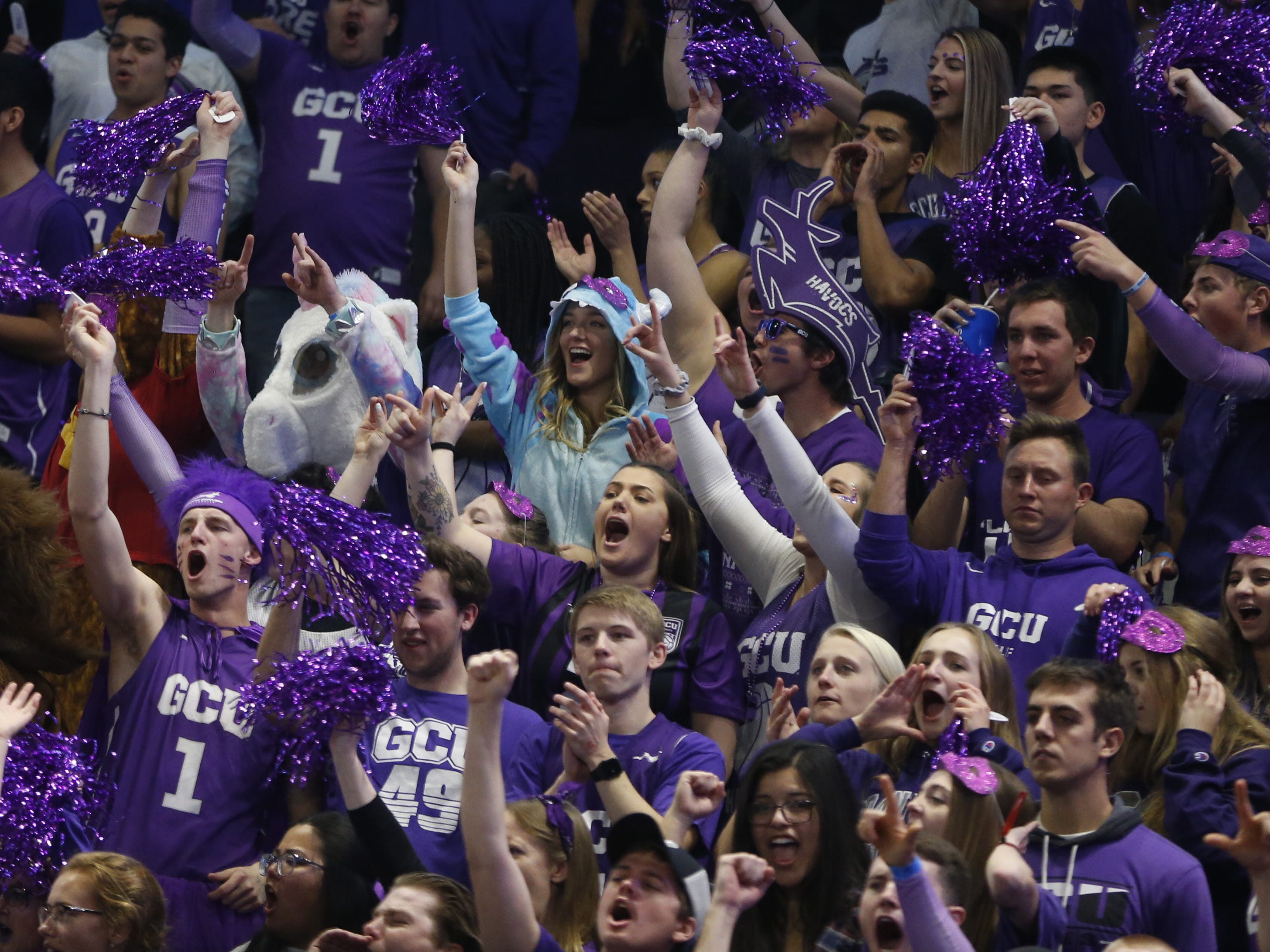 GCU fans react to a basket against New Mexico State during the first half at Grand Canyon University Arena in Phoenix, Ariz. on February 9, 2019.