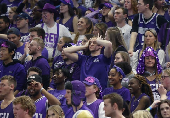 GCU fans react to a turnover against New Mexico State during the first half at Grand Canyon University Arena in Phoenix, Ariz. on February 9, 2019.