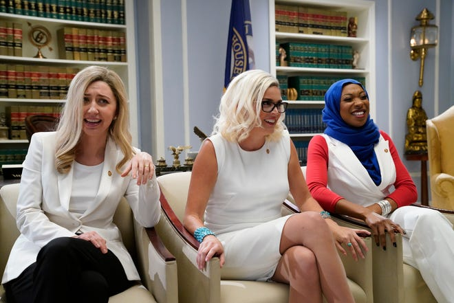 "Heidi Gardner as Abigail Spanberger, Cecily Strong as Kyrsten Sinema, and Ego Nwodim as Ilhan Omar during the ""Women of Congress"" sketch on ""Saturday Night Live."""