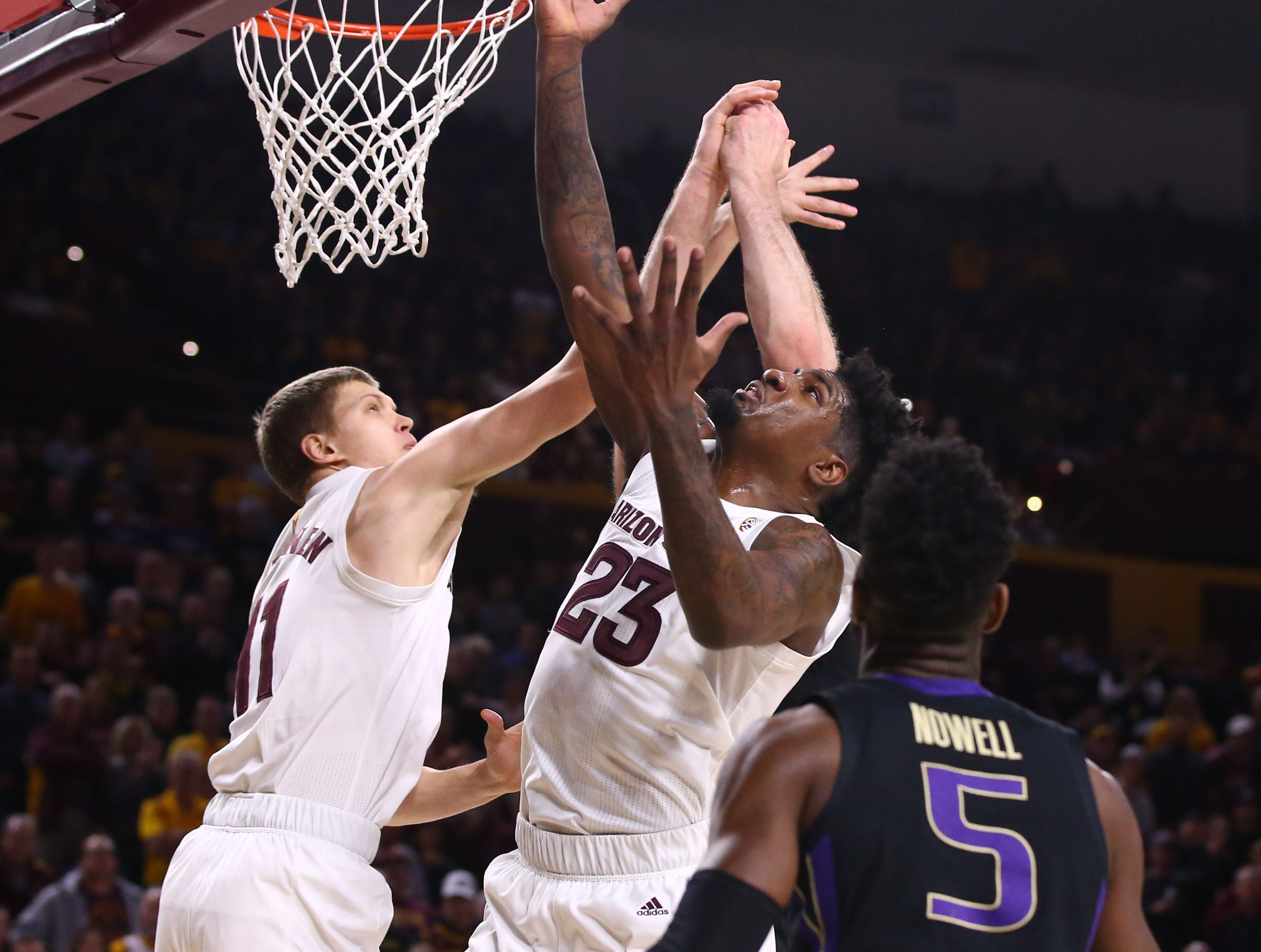 Arizona State Sun Devils forward Romello White (23) battles for the rebound against the Washington Huskies in the first half on Feb. 9 at Wells Fargo Arena in Tempe.