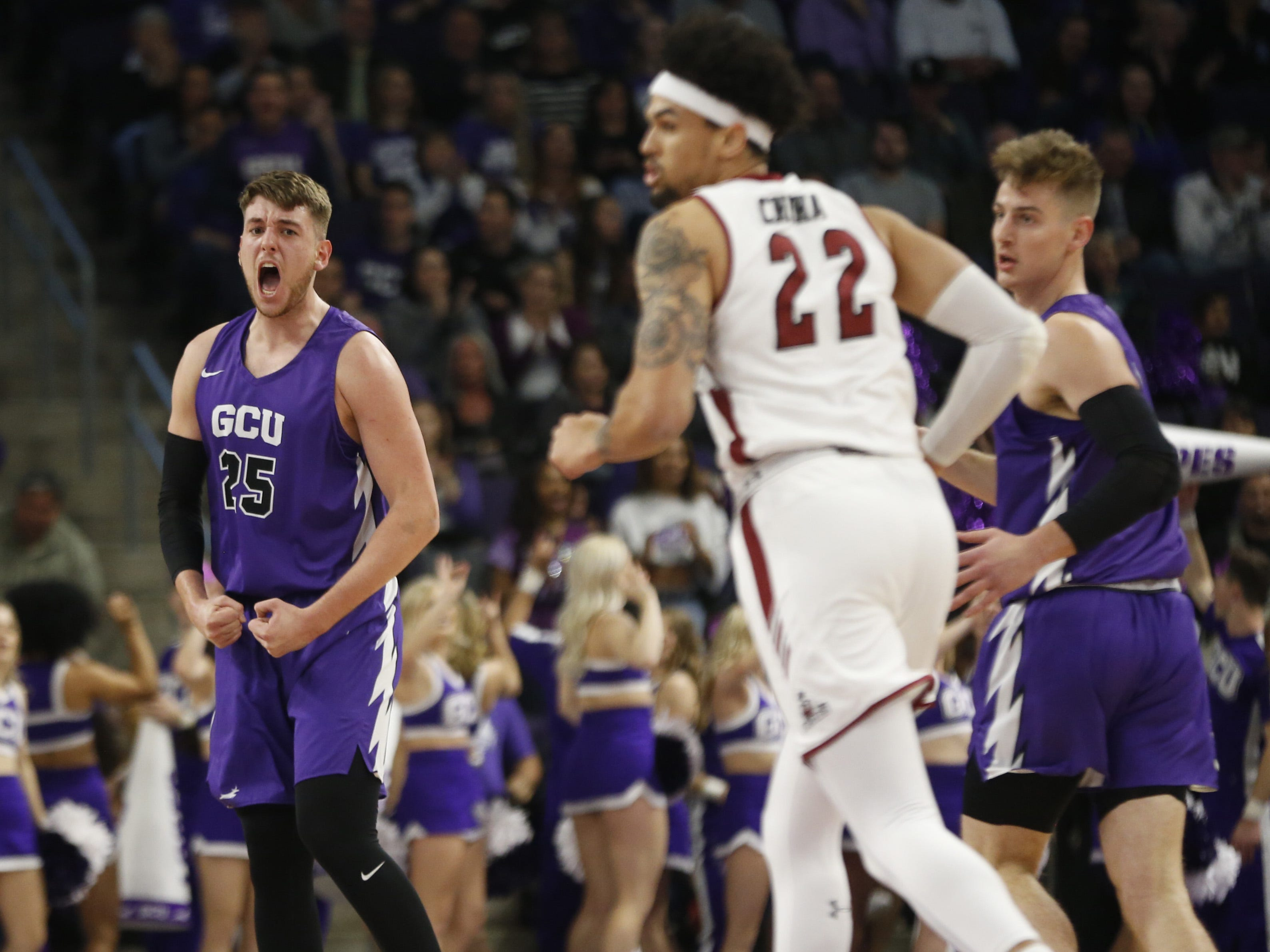 GCU's Alessandro Lever (25) reacts after scoring against New Mexico State during the first half at Grand Canyon University Arena in Phoenix, Ariz. on February 9, 2019.