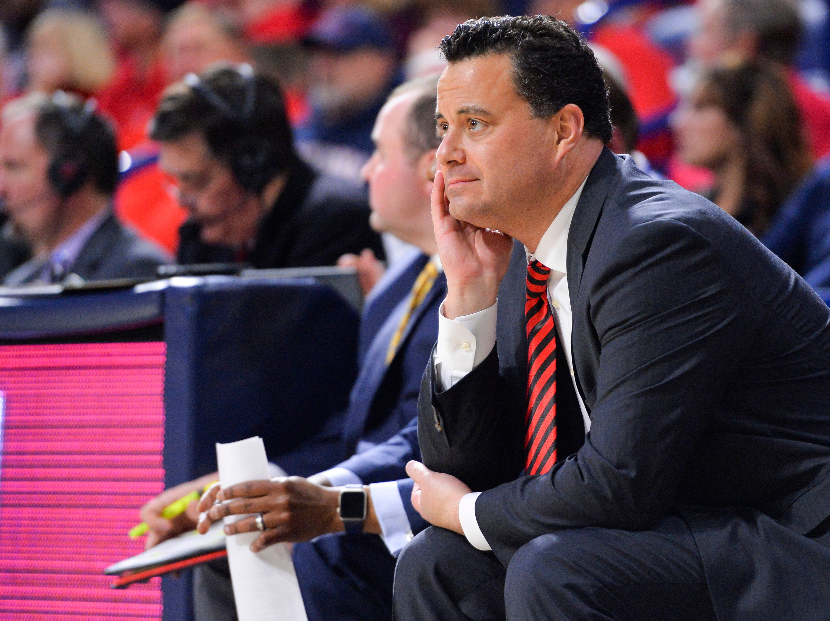 Feb 9, 2019; Tucson, AZ, USA; Arizona Wildcats head coach Sean Miller watches from the bench during the first half against the Washington State Cougars at McKale Center. Mandatory Credit: Casey Sapio-USA TODAY Sports