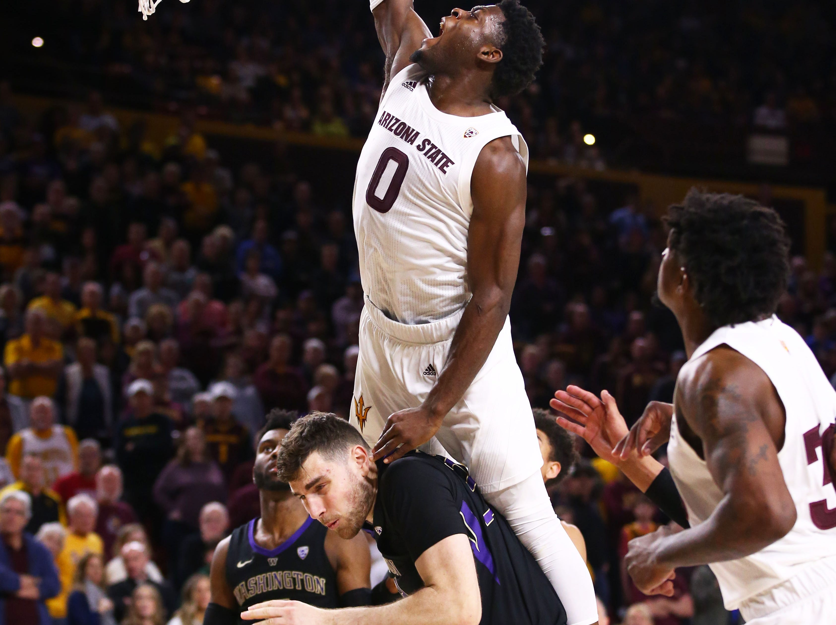 Arizona State Sun Devils guard Luguentz Dort misses a dunk against the Washington Huskies in the second half on Feb. 9 at Wells Fargo Arena in Tempe.