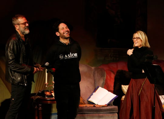 From left, Jeffrey Dean Morgan, Paul Rudd and Mary Stuart Masterson during Ghost Stories 3 at Ulster Performing Arts Center in Kingston on February 9, 2019.