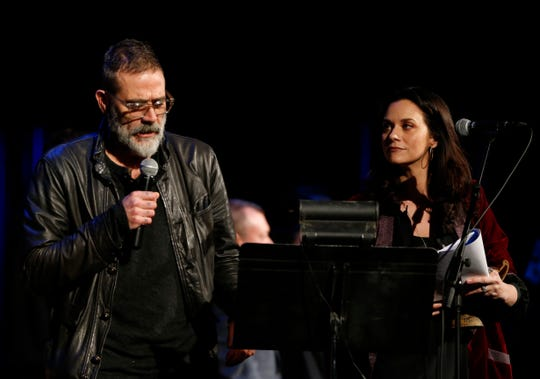 Jeffrey Dean Morgan and Hilarie Burton during Ghost Stories 3 at Ulster Performing Arts Center in Kingston on February 9, 2019.