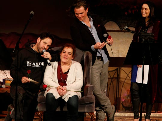 Paul Rudd and the cast of Ghost Stories 3 hold a living funeral for Jackie Gruber at Ulster Performing Arts Center in Kingston on February 9, 2019.