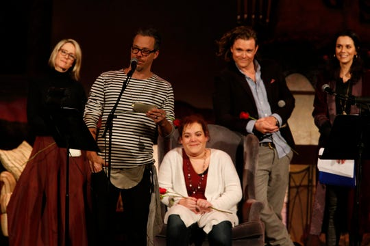 The cast of Ghost Stories 3 hold a living funeral for Jackie Gruber at Ulster Performing Arts Center in Kingston on February 9, 2019.