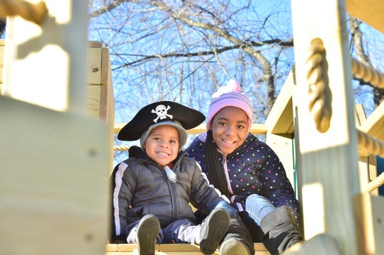 Dontae Jackson, 3, and his sister Olivia Jackson, 9, play Saturday, Feb. 9, 2019, on the pirate-themed playset Dontae recently received through the Make-A-Wish Foundation.