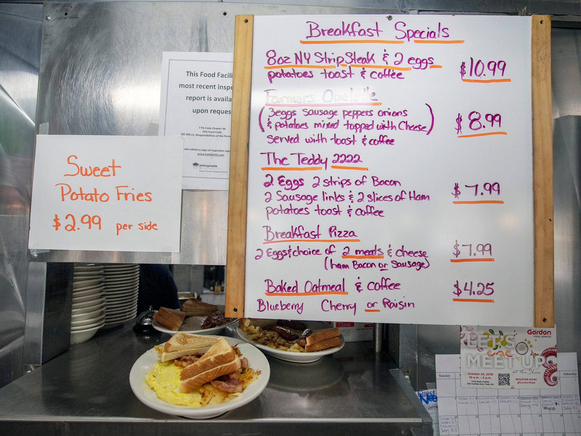 Breakfast is up from the kitchen at Vicky's Diner Wednesday February 6, 2019.