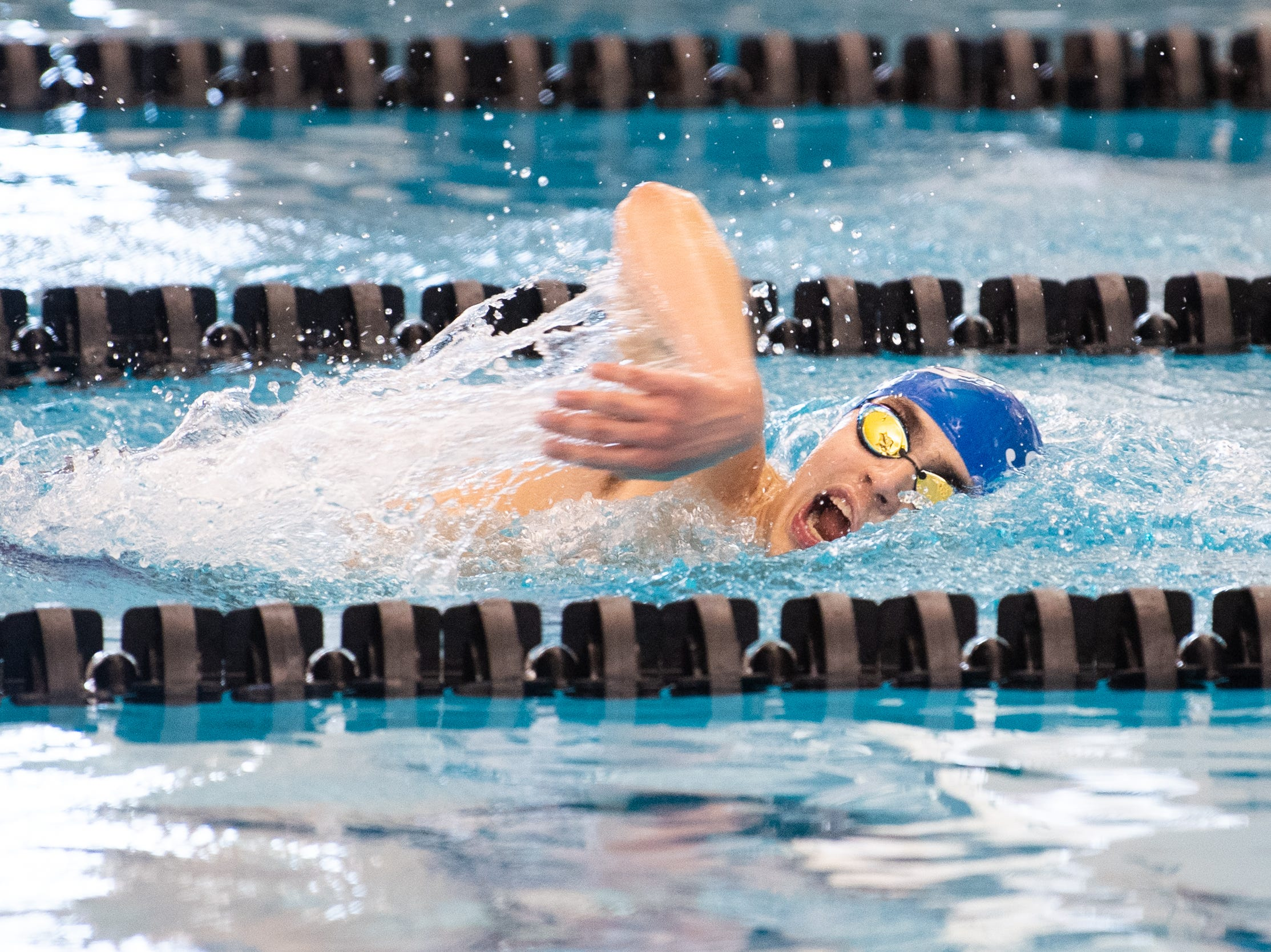 Ryan West of Spring Grove competes in the Boys 500 Yard Freestyle during the 2019 YAIAA Swimming and Diving Championships at Central York High School, February 9, 2019.