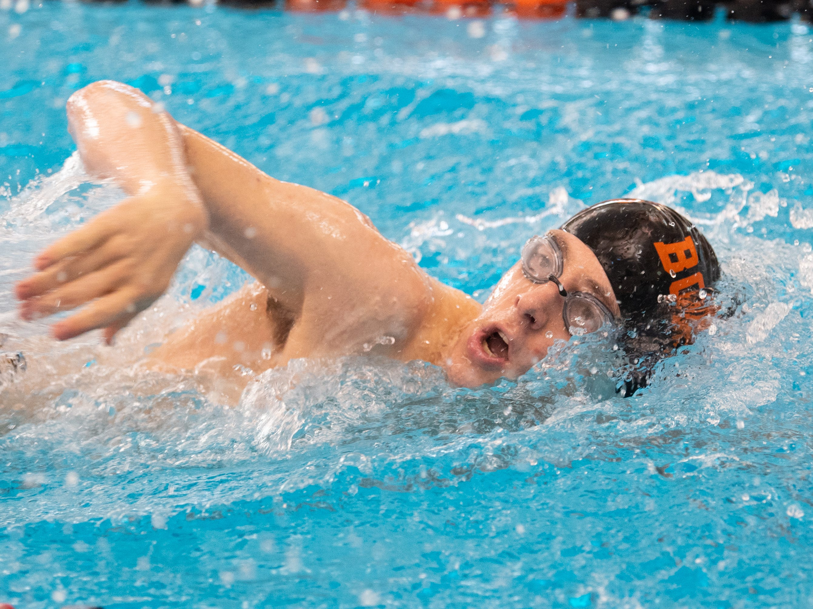 Northwestern's Casey Helmeczi competes in the Boys 500 Yard Freestyle during the 2019 YAIAA Swimming and Diving Championships at Central York High School, February 9, 2019.