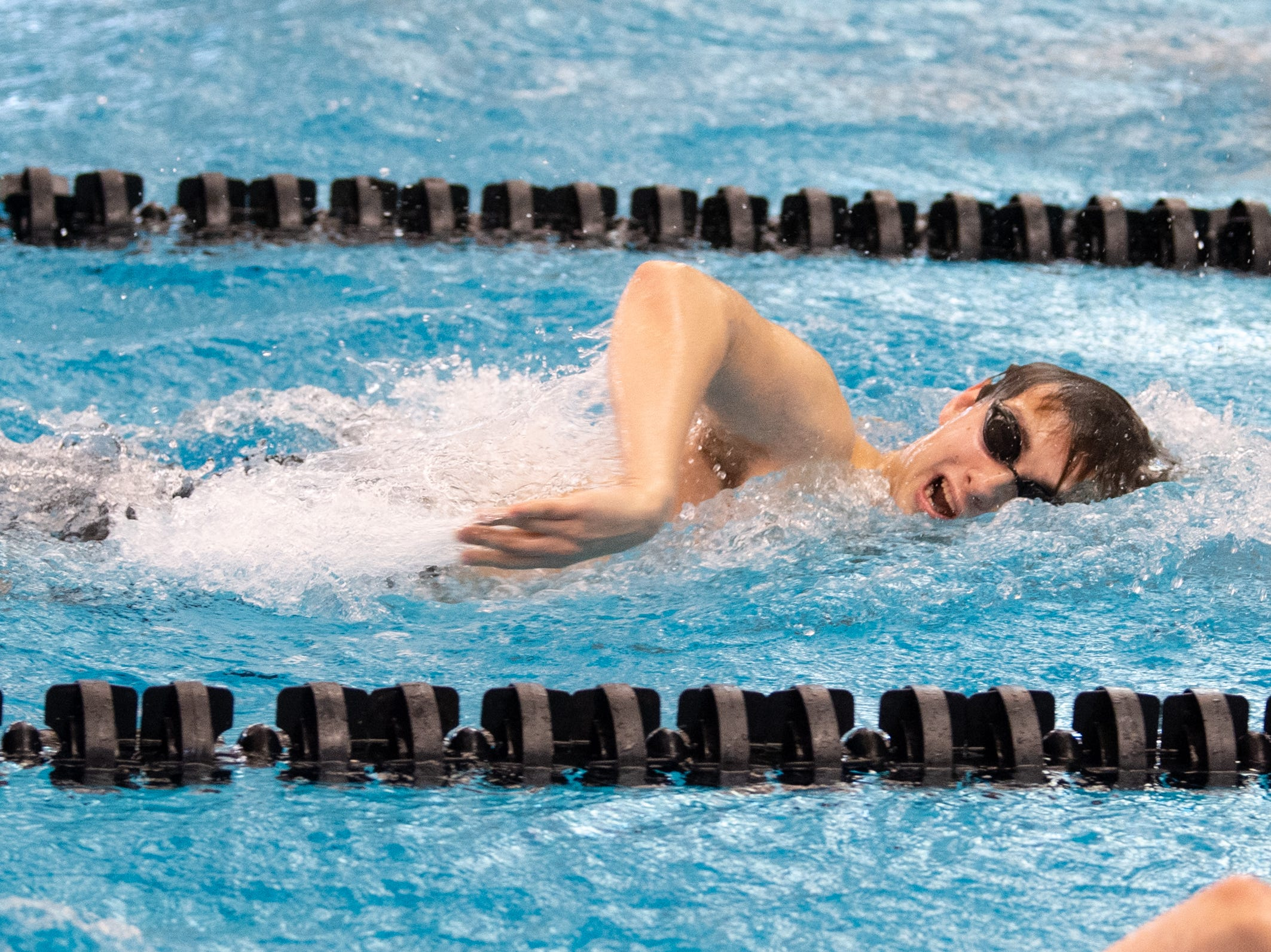 Patrick O'Neal of Central York competes in the Boys 500 Yard Freestyle during the 2019 YAIAA Swimming and Diving Championships at Central York High School, February 9, 2019.