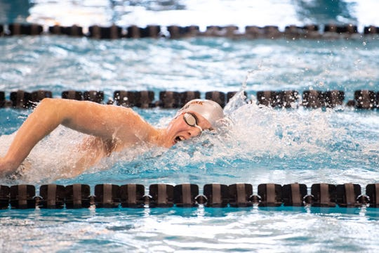 Cameron Speed of Central York has a commanding lead in the Boys 500 Yard Freestyle during the 2019 YAIAA Swimming and Diving Championships at Central York High School, February 9, 2019.