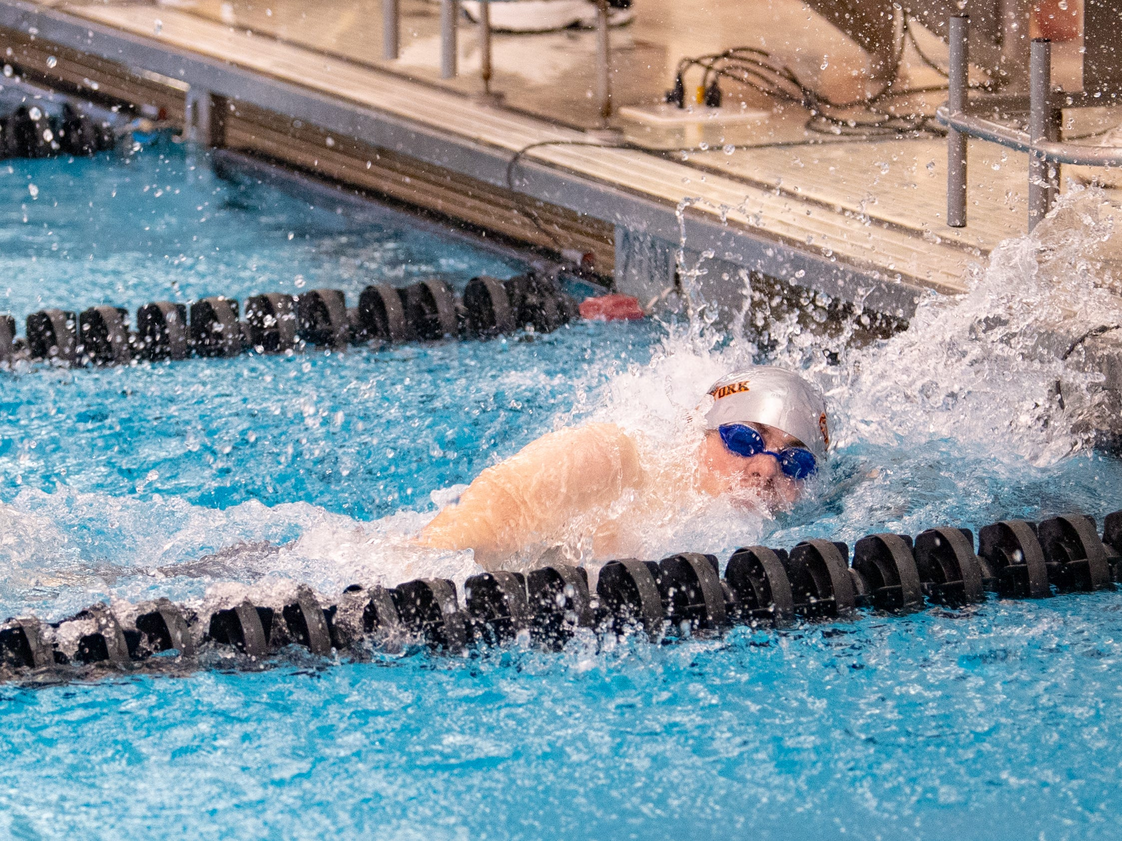 Central York's Lucas Tate finishes the Boys 400 Yard Freestyle Relay during the 2019 YAIAA Swimming and Diving Championships at Central York High School, February 9, 2019.