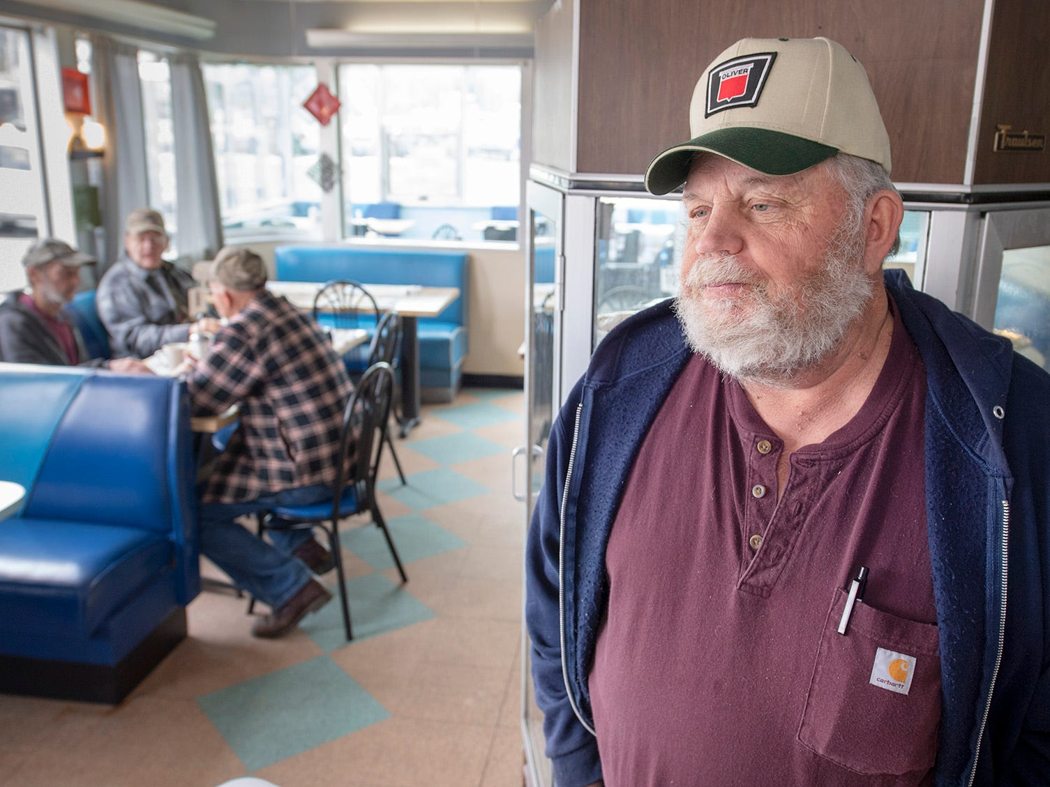 Mike Culler, a farmer from Frederick, Maryland, stopped in to Vicky's Diner with some friends on a recent morning. They came to York County to look at farm equipment Wednesday February 6, 2019.