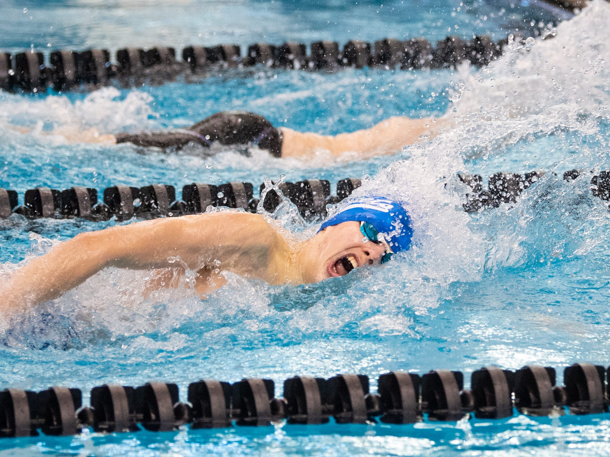 Spring Grove's Daniel Gordon competes in the Boys 400 Yard Freestyle Relay during the 2019 YAIAA Swimming and Diving Championships at Central York High School, February 9, 2019.