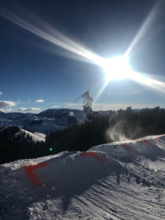 August Davis competes in the freestyle ski competition in Sun Valley, Idaho in January.