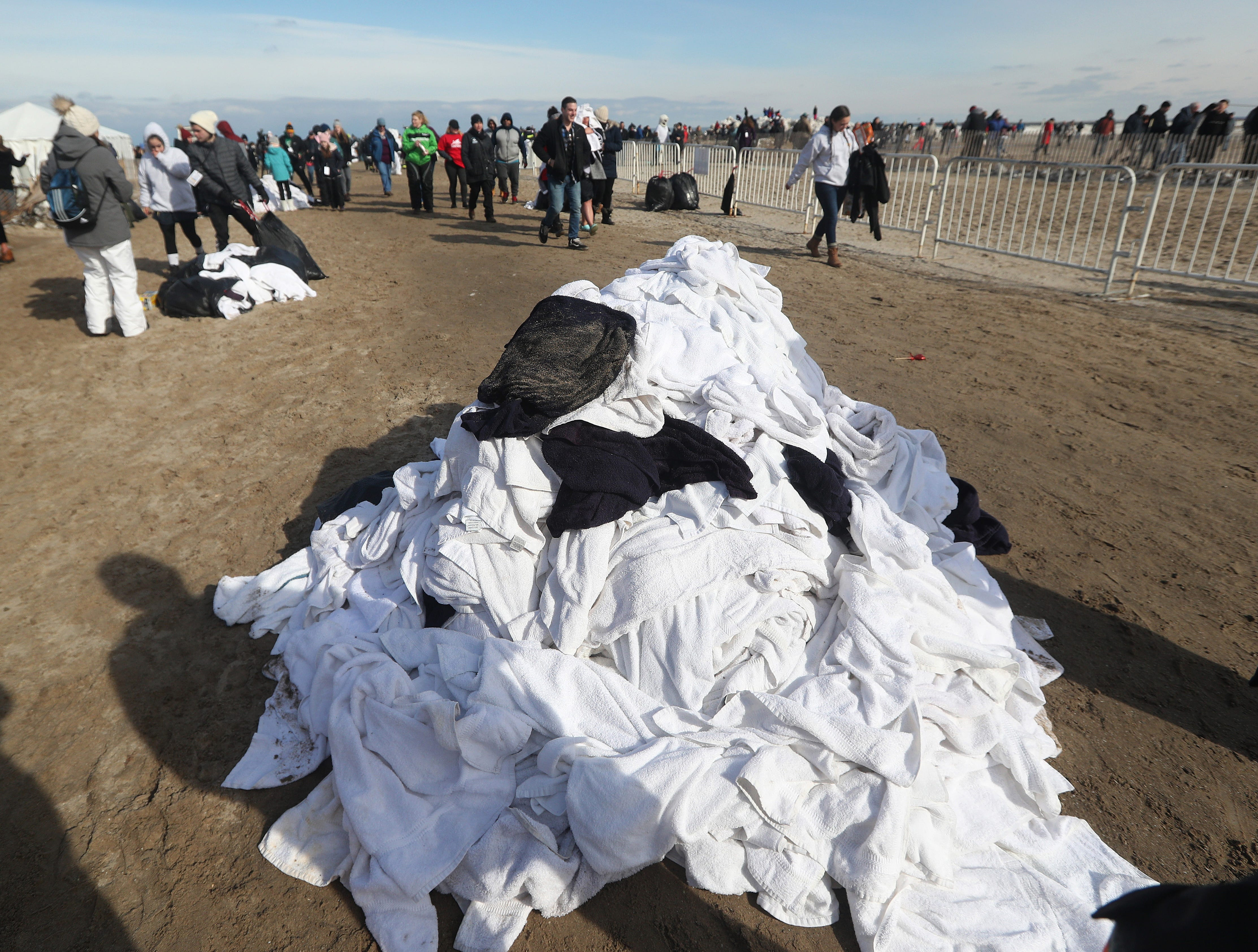 A pile of towels at the end of the annual Polar Plunge.  More than  of the 2,000 people who took the plunge into Lake Ontario and helped raise   more than $250,000 for Special Olympics of New York.