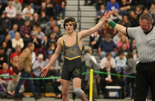 Honeoye Falls-Lima's Anthony Noto, gets the victory over Bryson Terwilliger, Canisteo-Greenwood, in their Division 2, 113 pound match at the 52nd Annual State Wrestling Qualifier at the College at Brockport Saturday, Feb. 9, 2019.