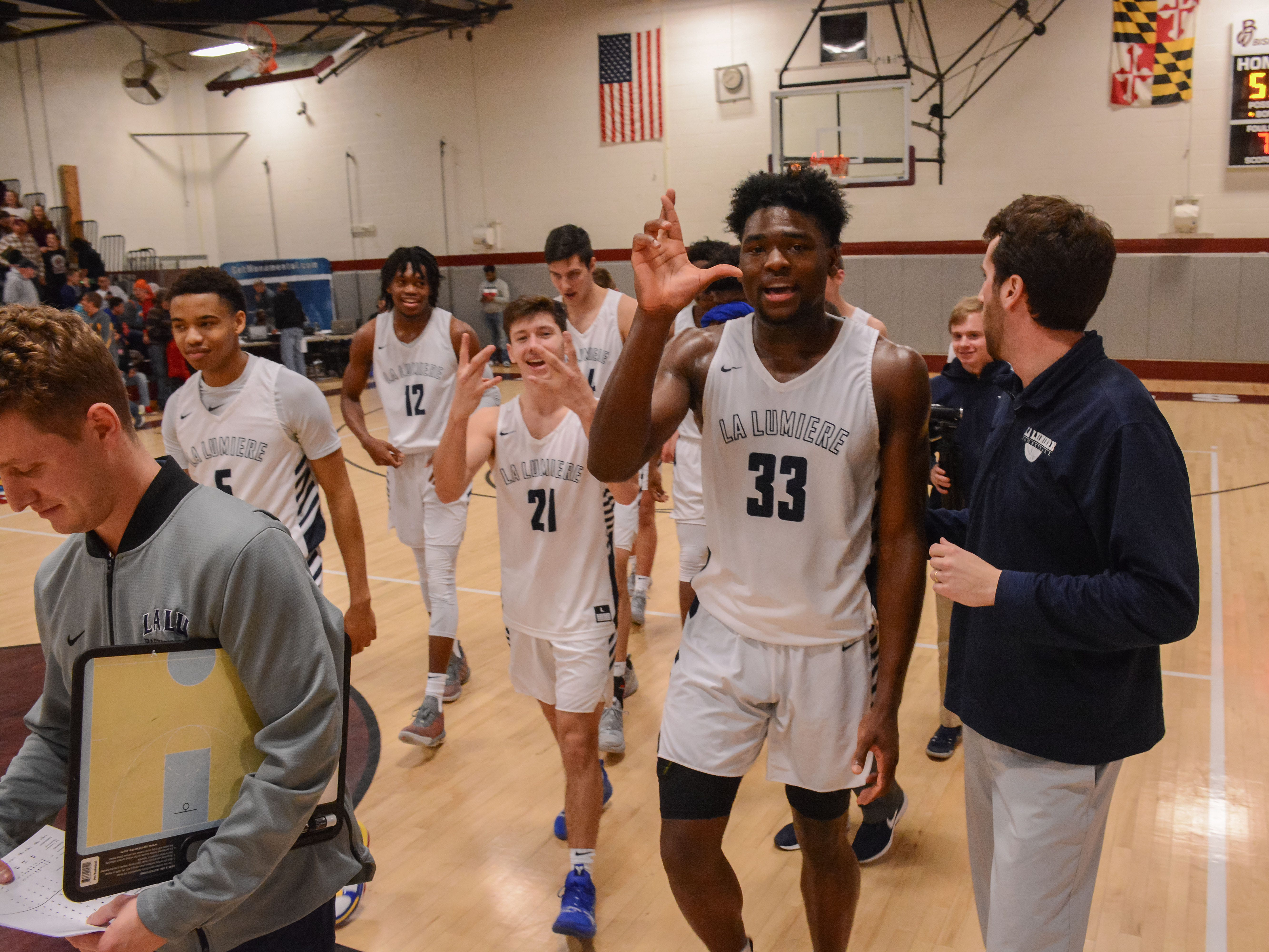Isaiah Stewart of Rochester, one of the top high school basketball recruits in the country, walks off the court after his top-ranked La Lumiere team from La Porte, Indiana, defeated Wasatch Academy of Utah at the Bob Kirk Invitational Tournament in Cumberland, Maryland, earlier this month. Stewart has committed to play at the University of Washington next season.