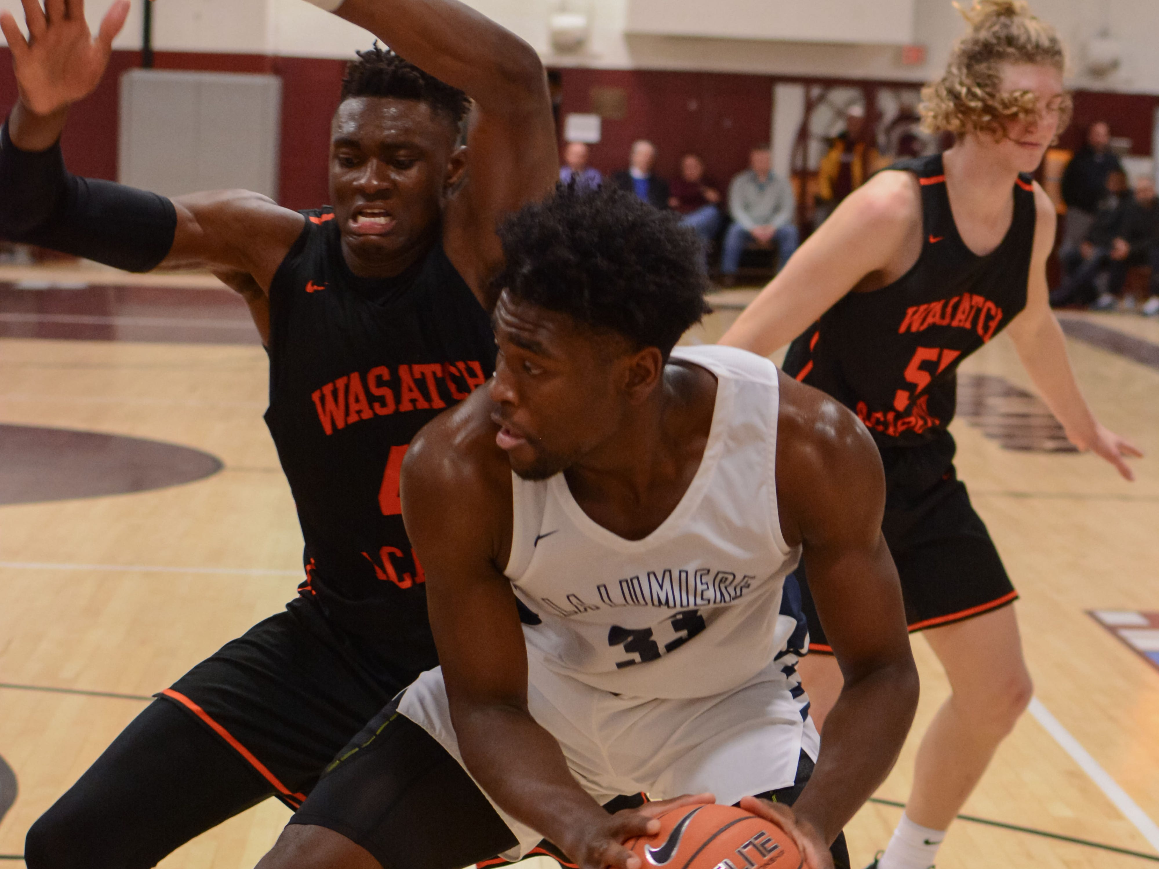Former McQuaid standout Isaiah Stewart, now of the La Lumiere School, makes a move to the basket during a game against Wasatch Academy of Utah.