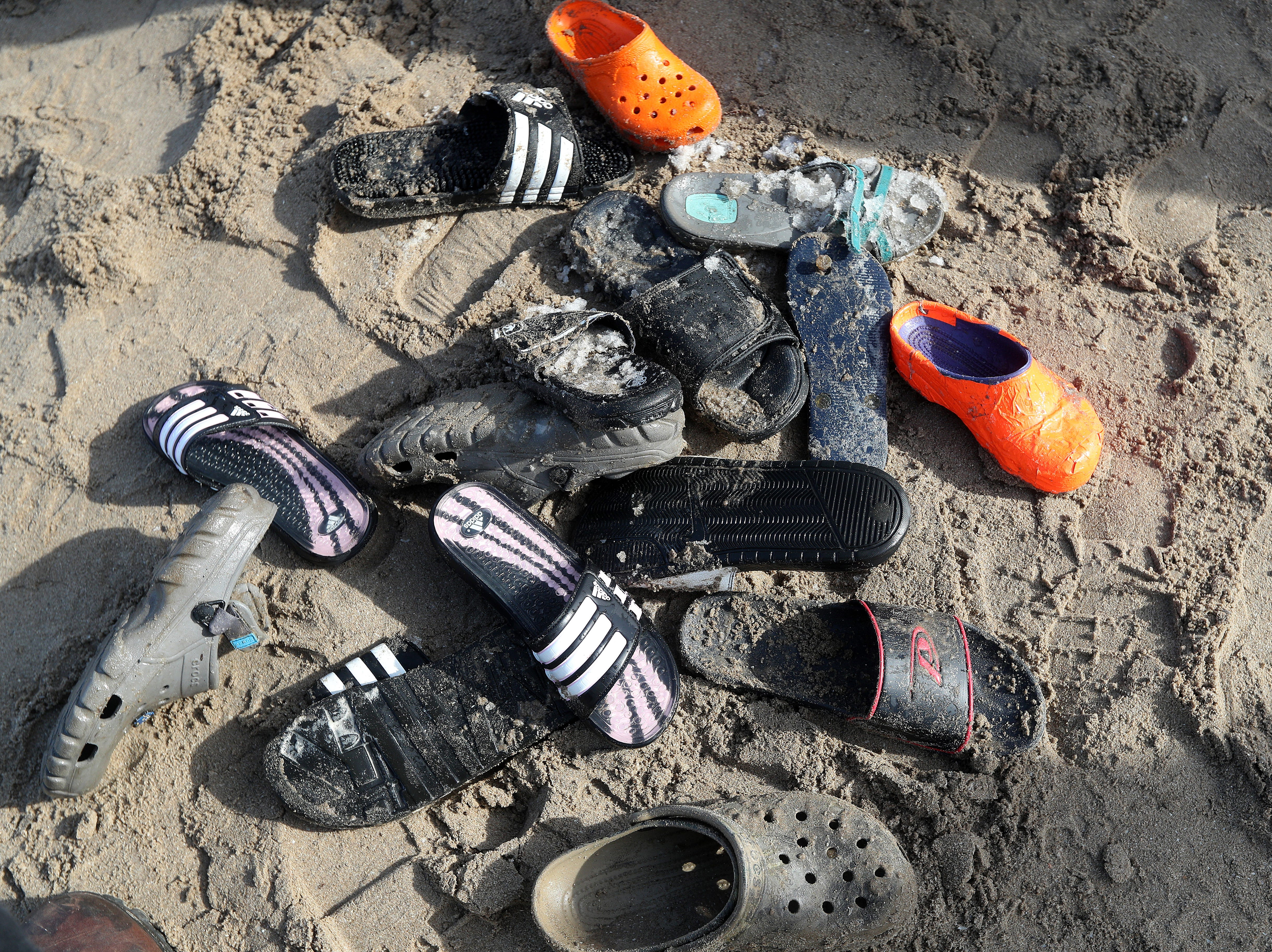 Some of the footwear that was lost by  the 2,000 people who took the plunge into Lake Ontario as part of the annual Polar Plunge.  The event raised more than $250,000 for Special Olympics of New York.