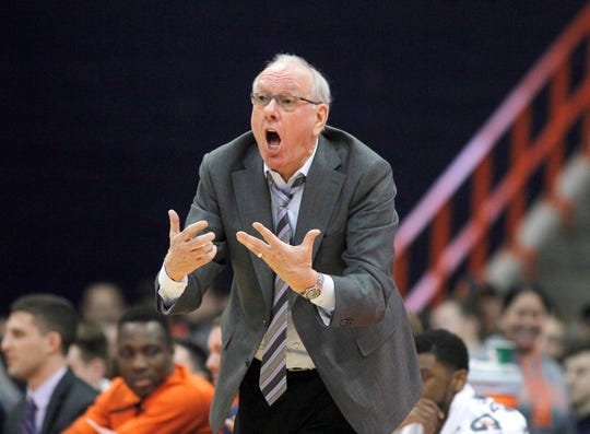 Syracuse head coach Jim Boeheim yells to his players during the second half of an NCAA college basketball game against Boston College in Syracuse, N.Y., Saturday, Feb. 9, 2019. Syracuse won 67-56.