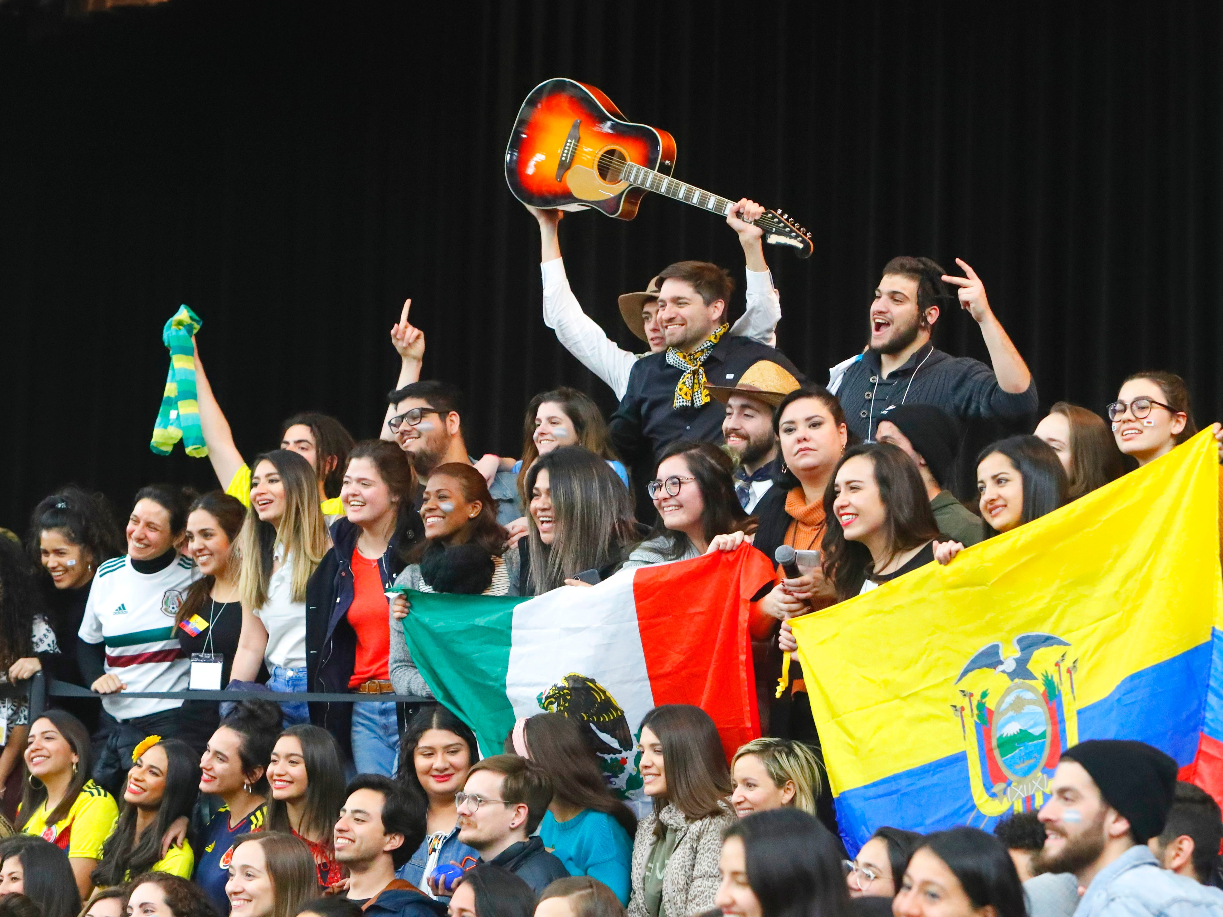 Students from the Bethel School of Supernatural Ministry pose for a group photo at the close of the annual Festival of Cultures on Feb. 9, 2019, in the Redding Civic Auditorium.
