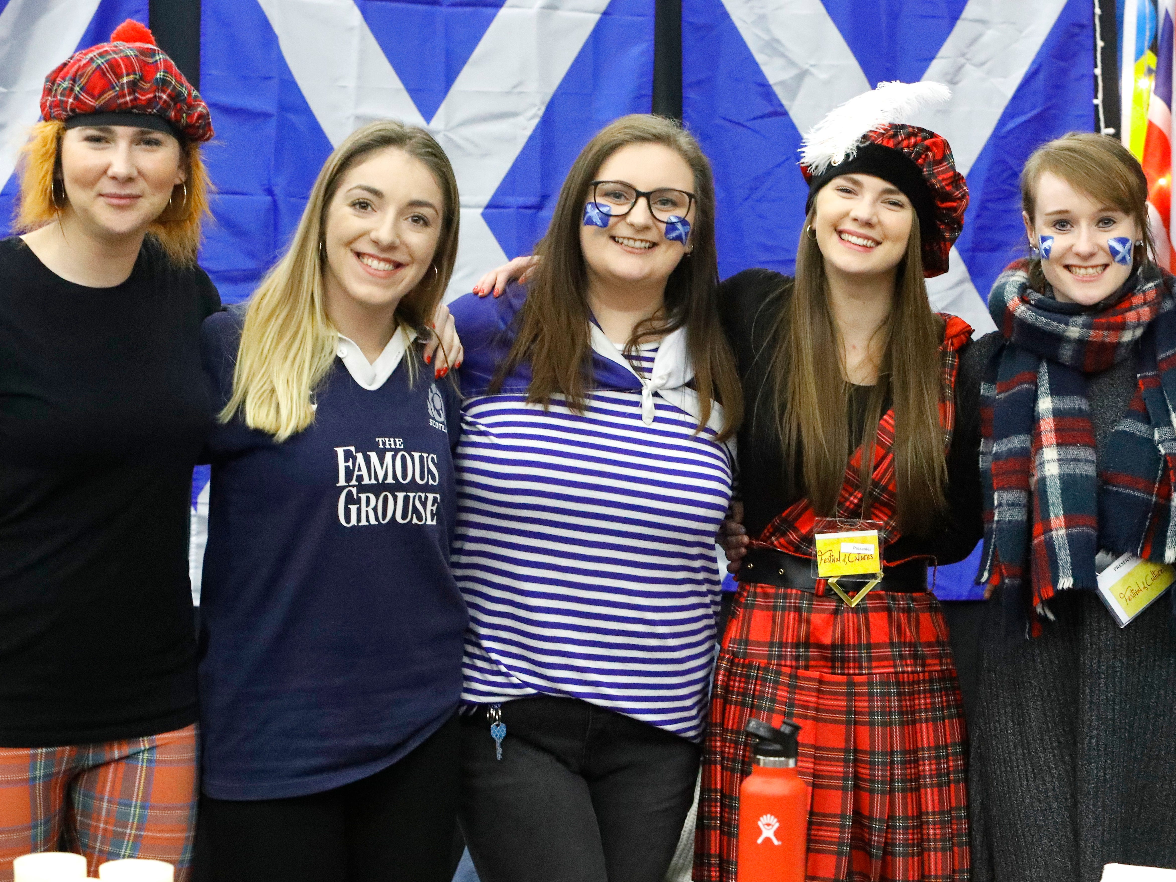Students from Scotland pose for a picture during the annual Festival of Cultures in the Redding Civic Auditorium on Feb. 9, 2019.