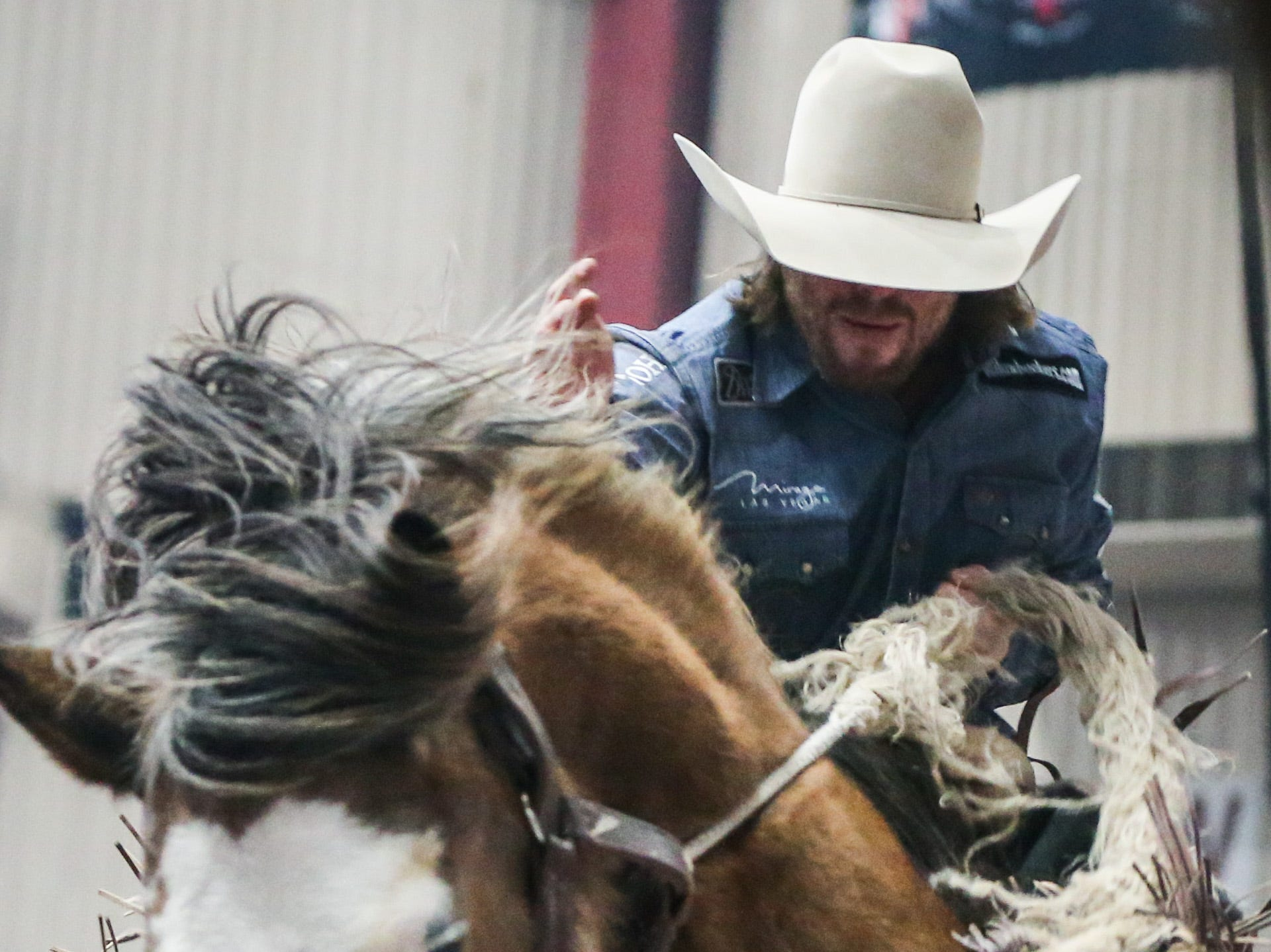 Sort Scheer rides Raise Your Glass during the San Angelo Stock Show & Rodeo show Saturday, Feb. 9, 2019, at Foster Communications Coliseum.