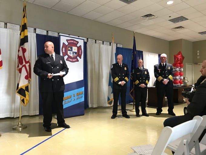 Members of the Ocean City Fire Department are honored for an incident citation during the Awards and Recognition Ceremony on Sunday, Feb. 10, 2019. Recognized: Steven Twilley, Mark Lloyd, Brian Bond, Damian Jones, Christopher Gee and Ethan Hitch.