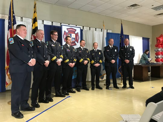 Officers are honored during the Ocean City Fire Department Awards and Recognition Ceremony on Sunday, Feb. 10, 2019. Recognized: Maurice Cropper, James Jester, William Savage III, Connor Braniff, Sean Donovan, Scott Shuster, Fred Senger, Kevin Knowles, Jerrold Priestly, Mike Mowbray, David Cropper, David Williams and John McAllister.