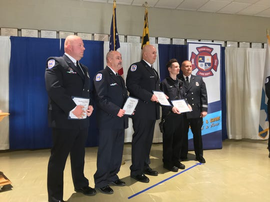 Members of the Ocean City Fire Department are honored for an incident citation during the Awards and Recognition Ceremony on Sunday, Feb. 10, 2019. Recognized: Lt. Robert Magee, Thomas McCready, Christopher Gee, Christopher Weber, Christopher Barrs, David Pruitt, Keith Bennett, Capt. Richard Koch and Capt. Greg Dypsky.