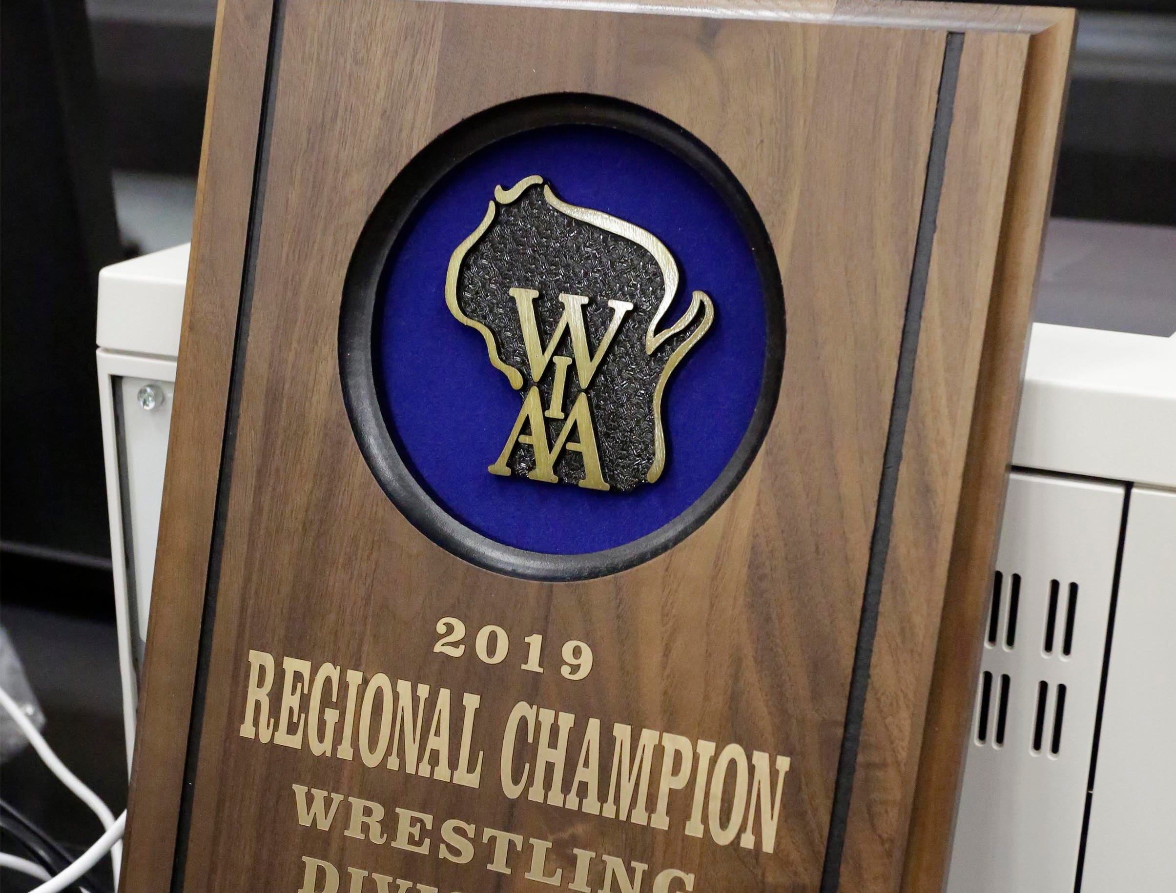 The Regional Champion Trophy on display at the WIAA Div. 3 Wrestling Regional, Saturday, February 9, 2019, in Oakfield, Wis. 