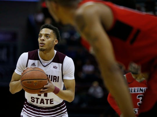 Missouri State's Jared Dixon shooting free throws against the Illinois State Redbirds at JQH Arena in Springfield on Feb. 10, 2019.