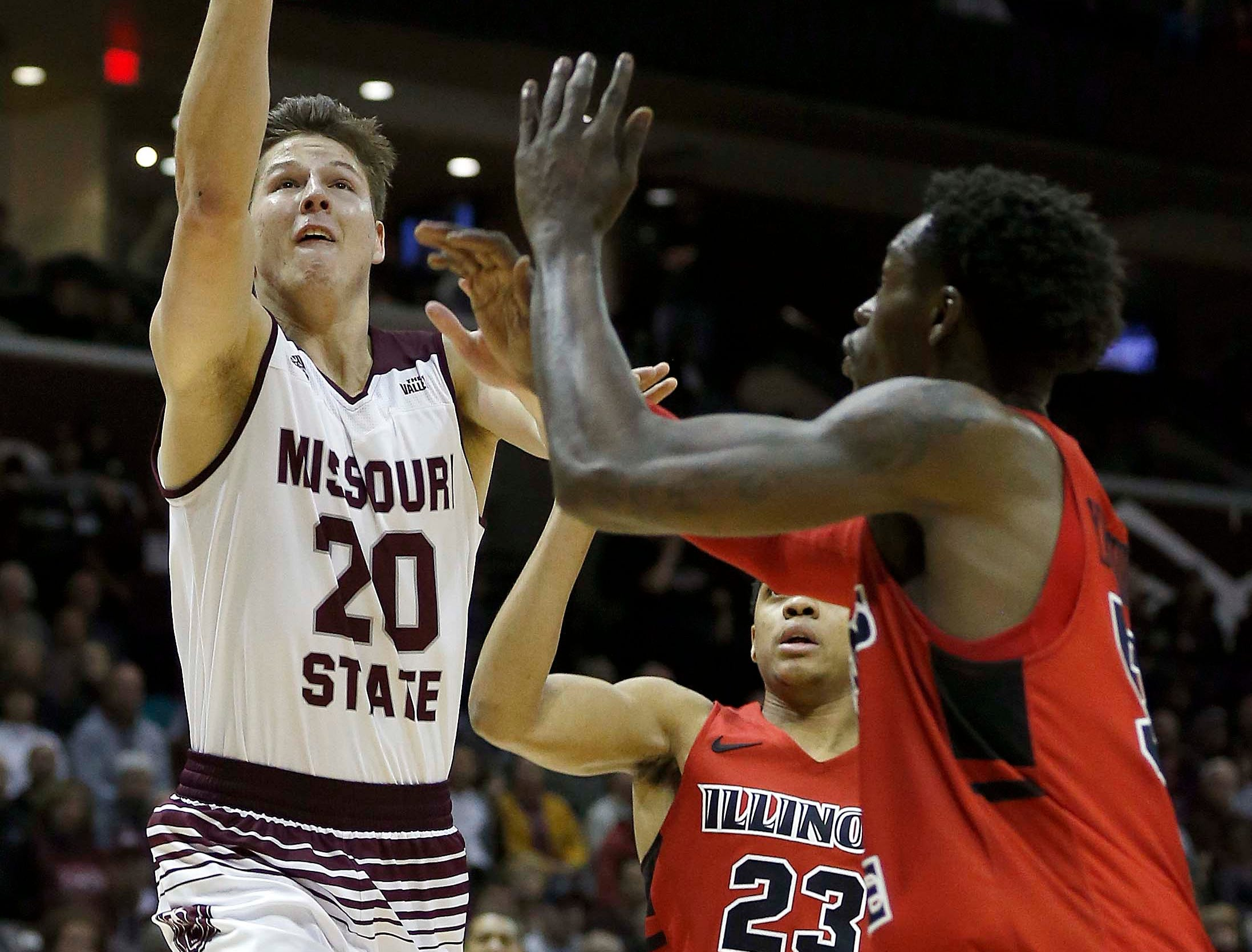 Missouri State's Ryan Kreklow shoots against the Illinois State Redbirds at JQH Arena in Springfield on Feb. 10, 2019.