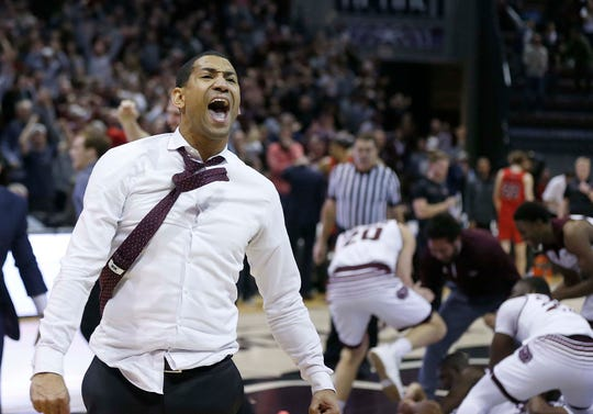 Missouri State coach Dana Ford celebrates the last-second win against the Illinois State Redbirds at JQH Arena in Springfield on Feb. 10, 2019.