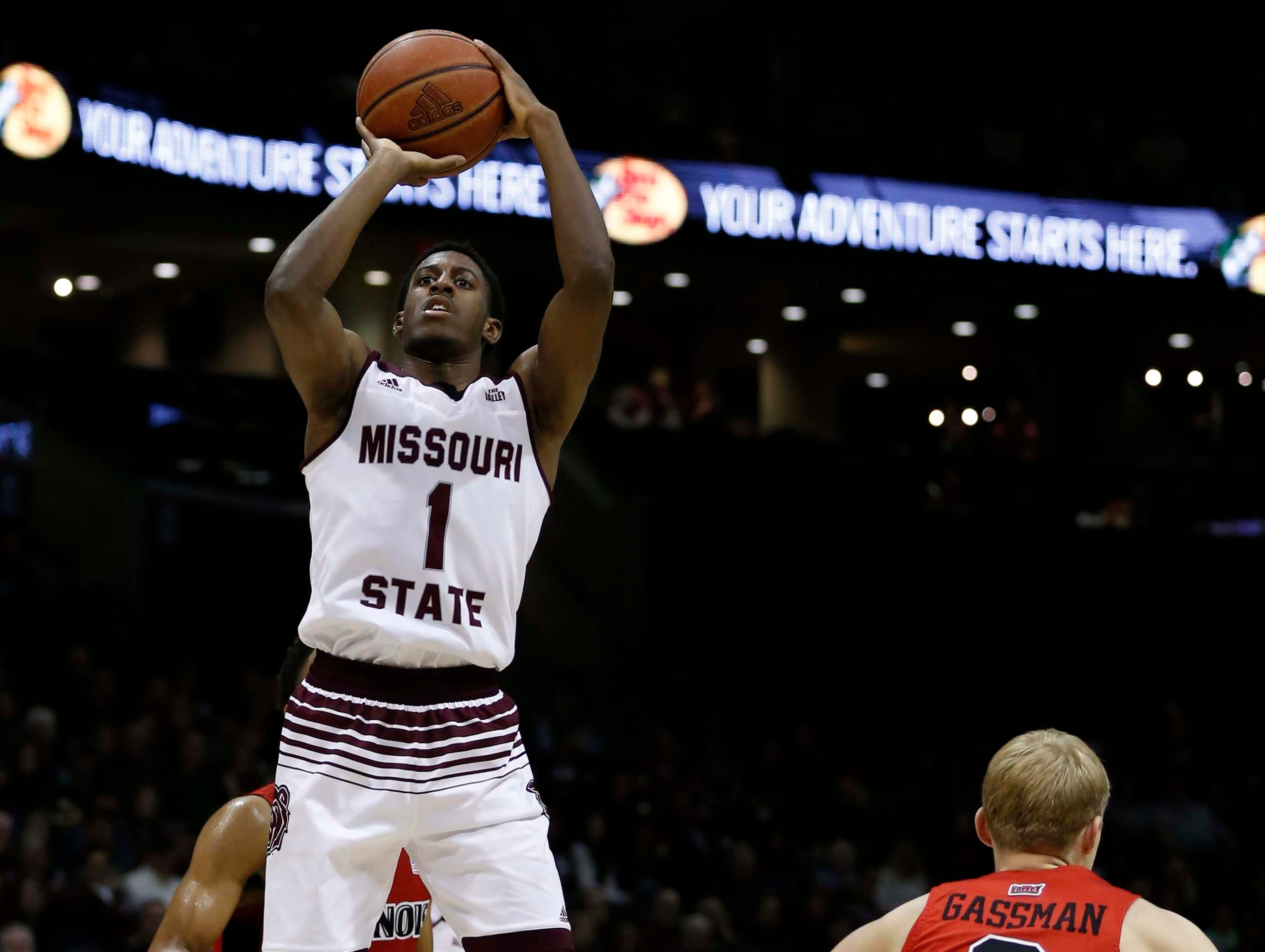 Missouri State's Keandre Cook shoots against the Illinois State Redbirds at JQH Arena in Springfield on February 10, 2019.
