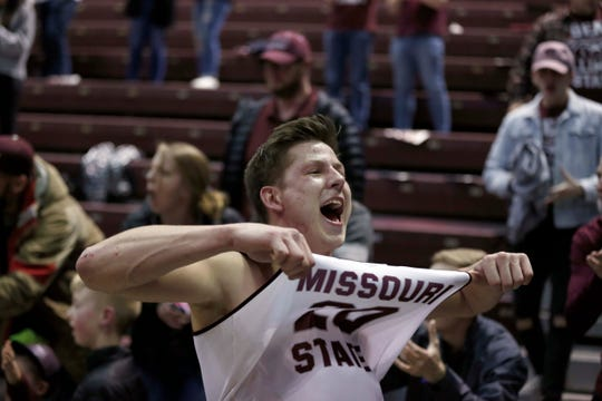 Missouri State's Ryan Kreklow celebrates after the Bears' last-second win against the Illinois State Redbirds at JQH Arena.