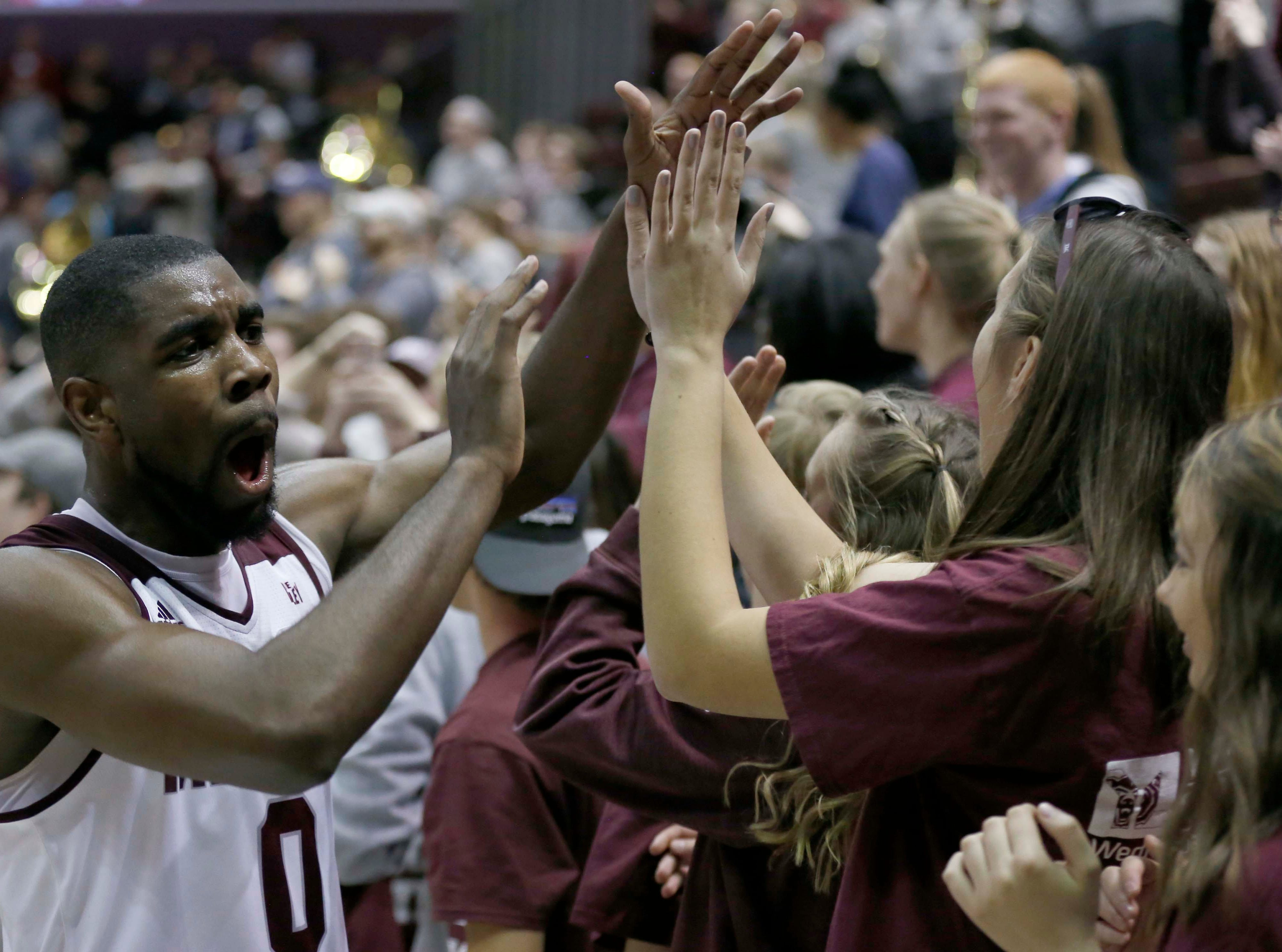 Missouri State against the Illinois State Redbirds at JQH Arena in Springfield on Feb. 10, 2019. Josh Webster celebrates with fans after the game.