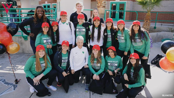 Las Vegas Aces center Carolyn Swords joins the Virgin Valley High School girls basketball team as a part of the Aces 'Lace Up' mentorship program