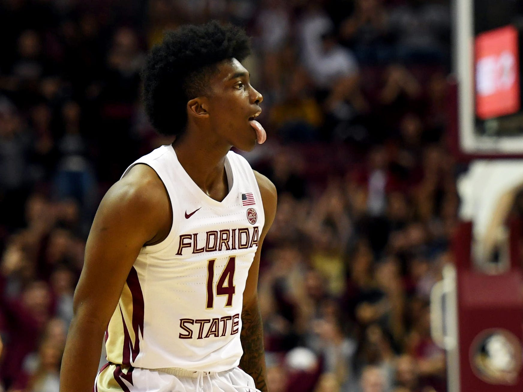 Feb 9, 2019; Tallahassee, FL, USA; Florida State Seminoles guard Terance Mann (14) reacts after hitting a three point basket during the second half against the Louisville Cardinals at Donald L. Tucker Center. Mandatory Credit: Melina Myers-USA TODAY Sports