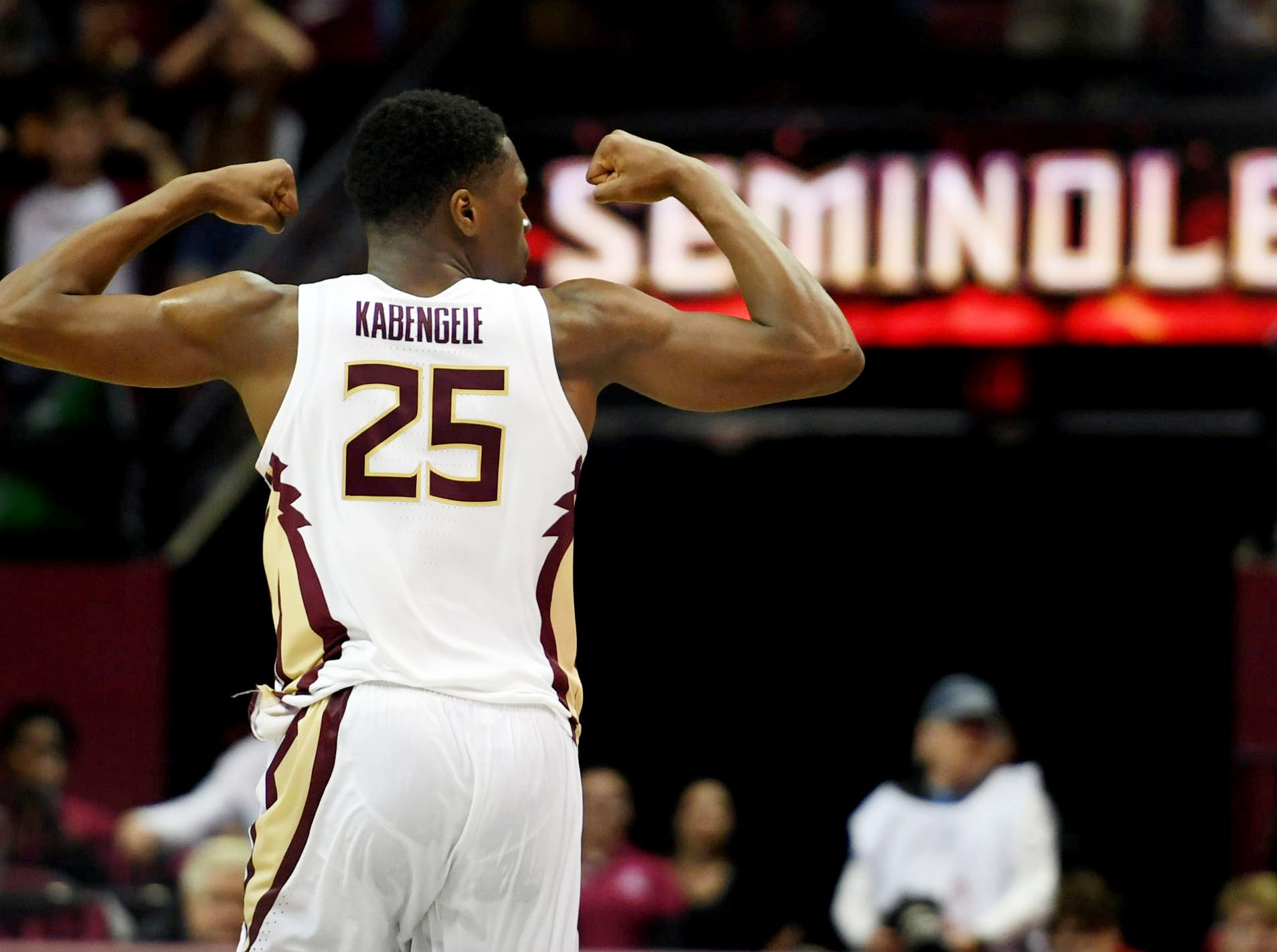 Feb 9, 2019; Tallahassee, FL, USA; Florida State Seminoles forward Mfiondu Kabengele (25) reacts during overtime against the Louisville Cardinals at Donald L. Tucker Center. Mandatory Credit: Melina Myers-USA TODAY Sports