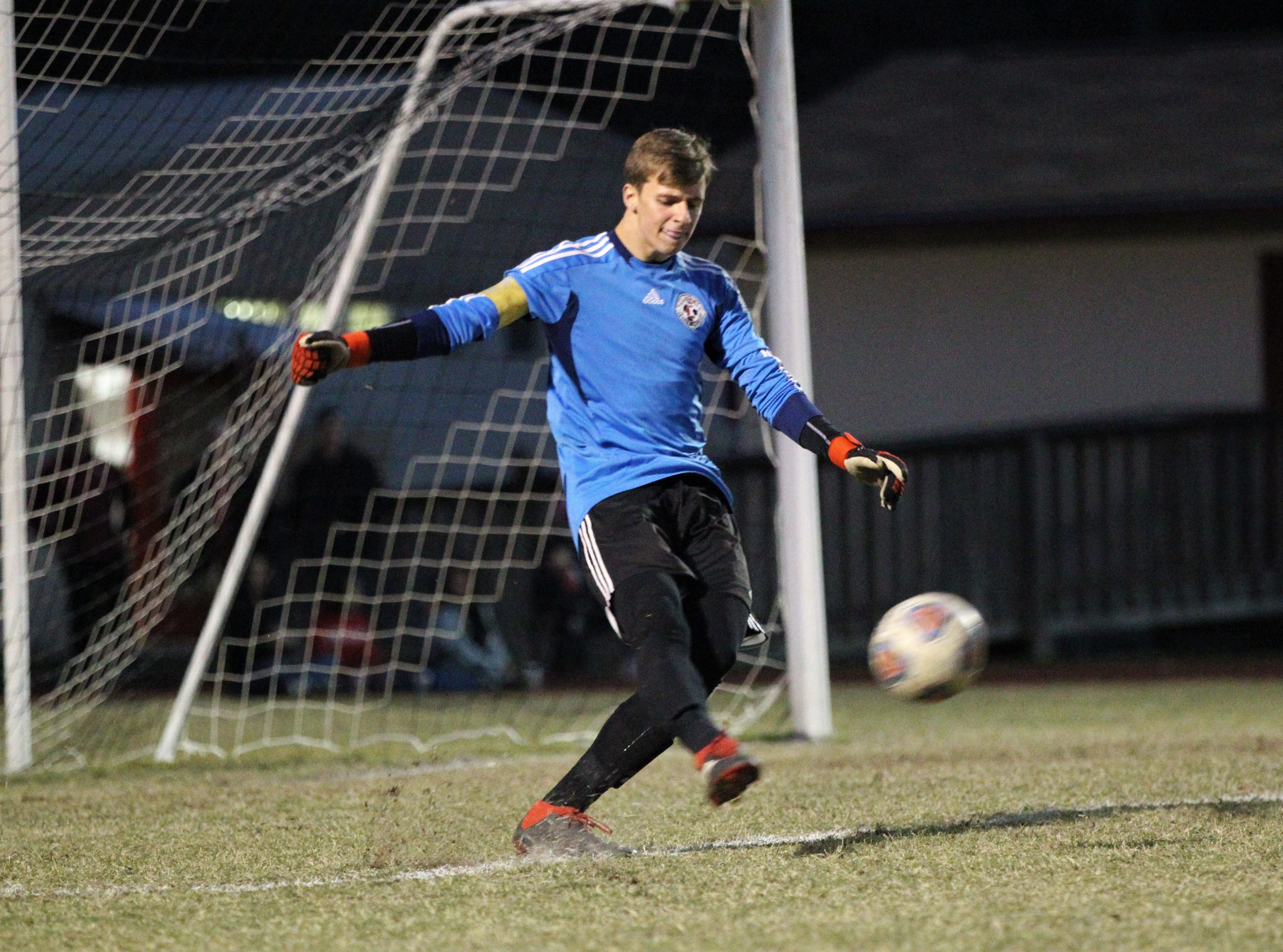 Leon keeper Sam Schaefer takes a goal kick as the Lions' boys soccer team beat Niceville 1-0 in a Region 1-4A semifinal on Feb. 9, 2019.
