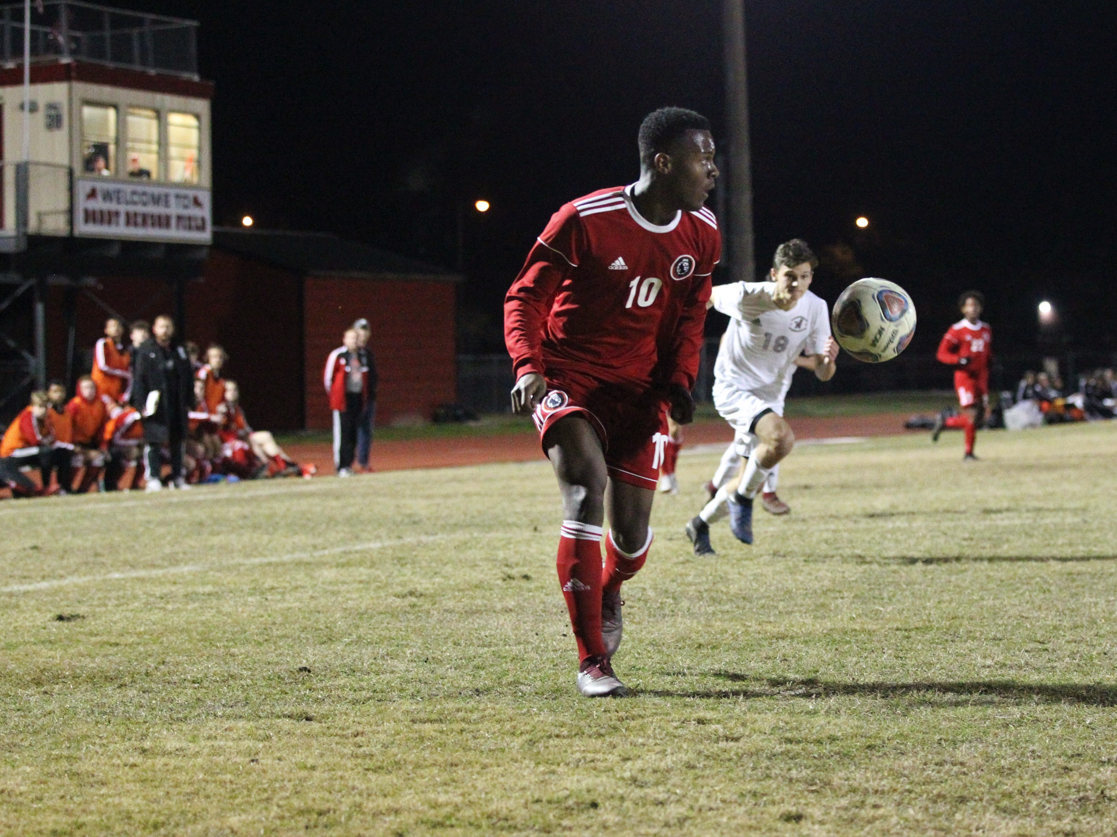 Leon's Jaden Jones-Riley looks for a pass in the box as the Lions' boys soccer team beat Niceville 1-0 in a Region 1-4A semifinal on Feb. 9, 2019.