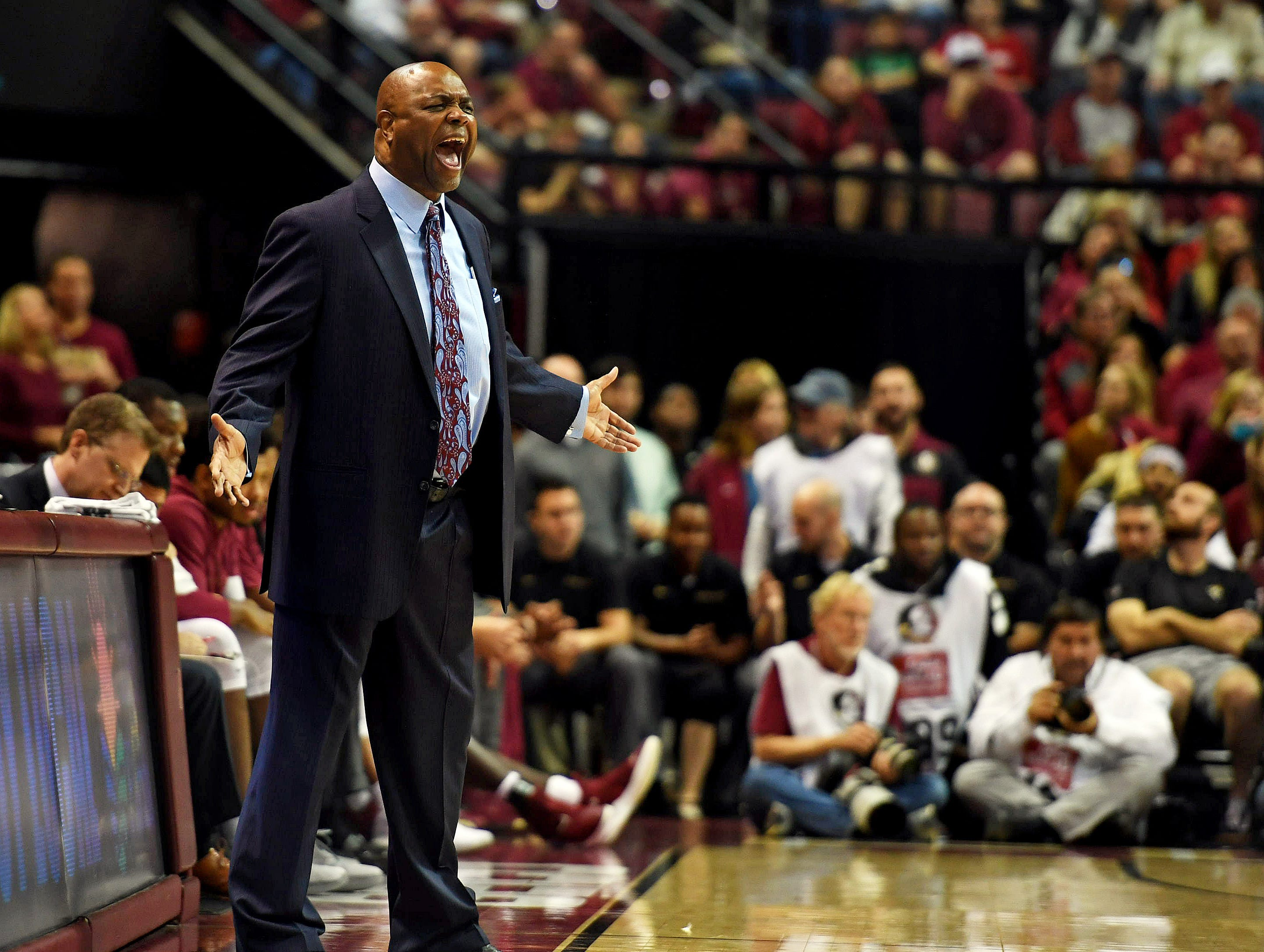 Feb 9, 2019; Tallahassee, FL, USA; Florida State Seminoles head coach Leonard Hamilton reacts during the second half against the Louisville Cardinals at Donald L. Tucker Center. Mandatory Credit: Melina Myers-USA TODAY Sports