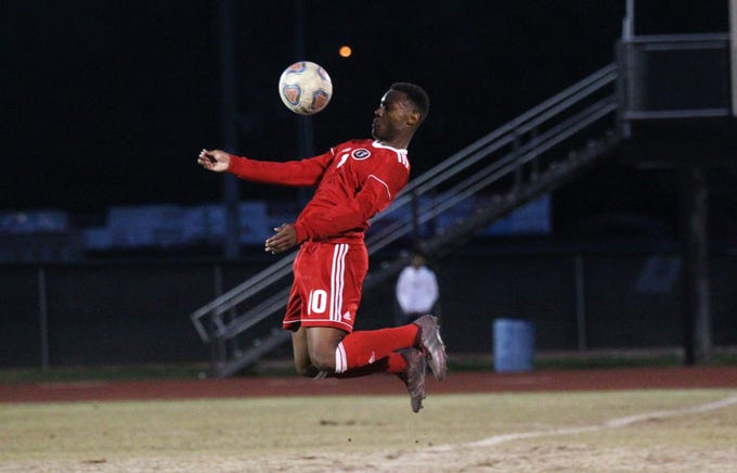 Leon's Jaden Jones-Riley brings down a ball as the Lions' boys soccer team beat Niceville 1-0 in a Region 1-4A semifinal on Feb. 9, 2019.