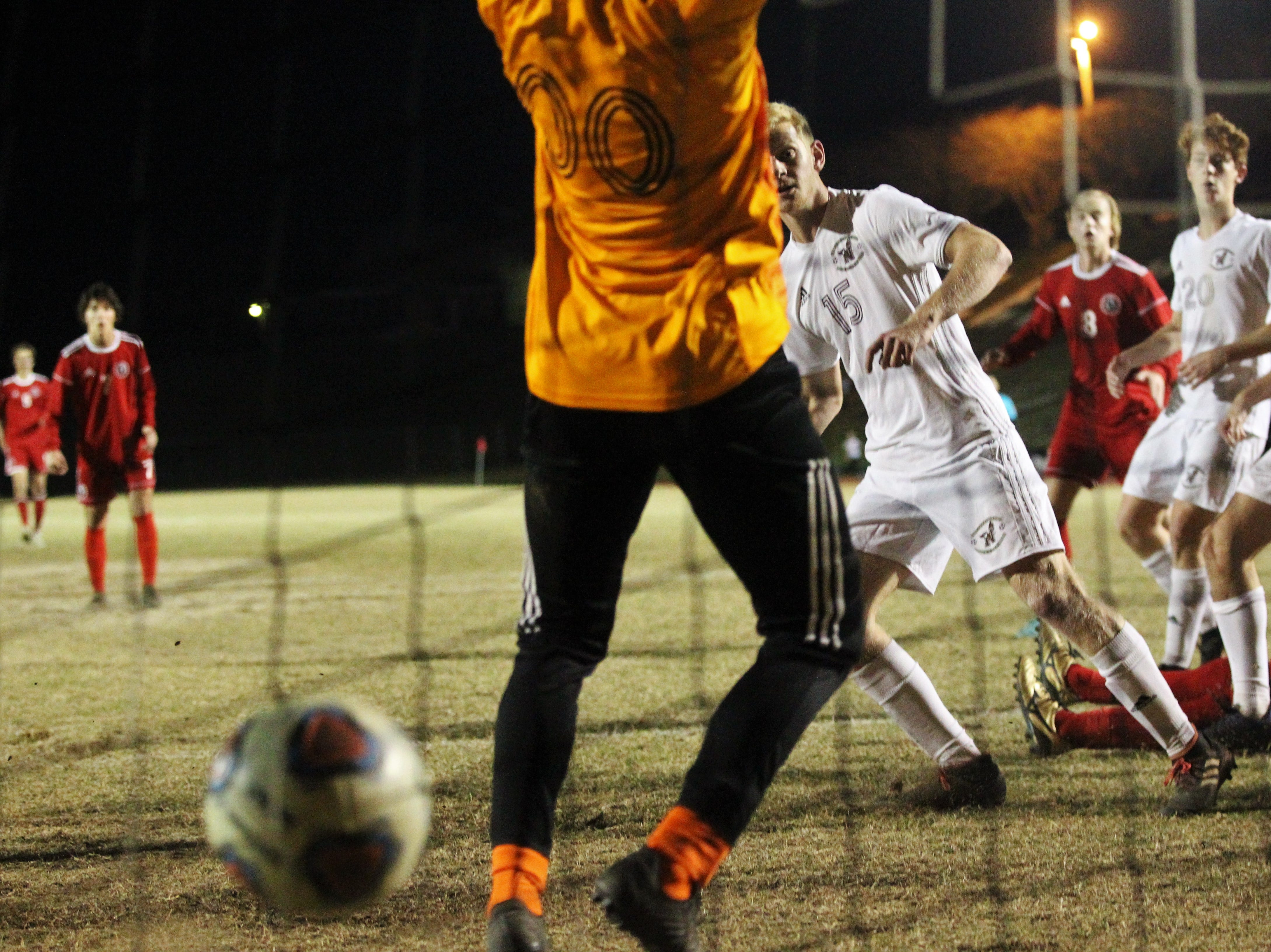 Leon's Sy Fontenot (on ground) scored the game-winning goal in the final minutes as the Lions' boys soccer team beat Niceville 1-0 in a Region 1-4A semifinal on Feb. 9, 2019.